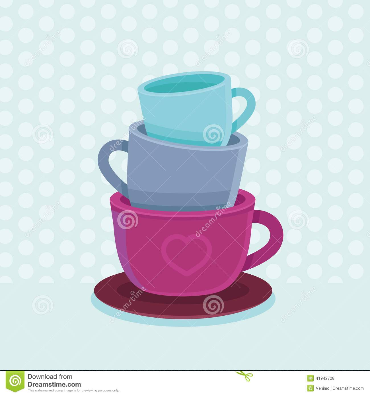 vector stack of coffee mugs and cups stock vector