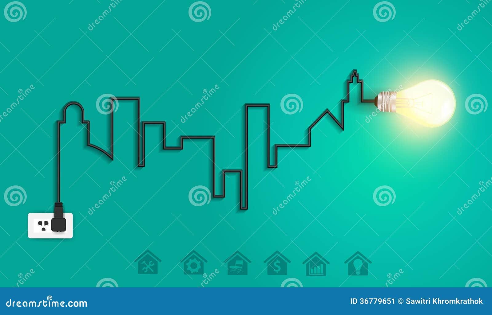 Vector Stadtbild mit Glühlampe ide des kreativen Drahtes