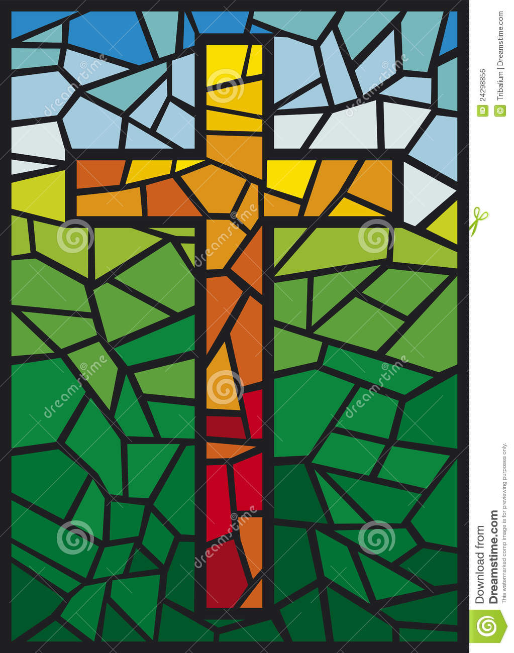 Vector Stained Glass Cross Stock Vector Illustration Of