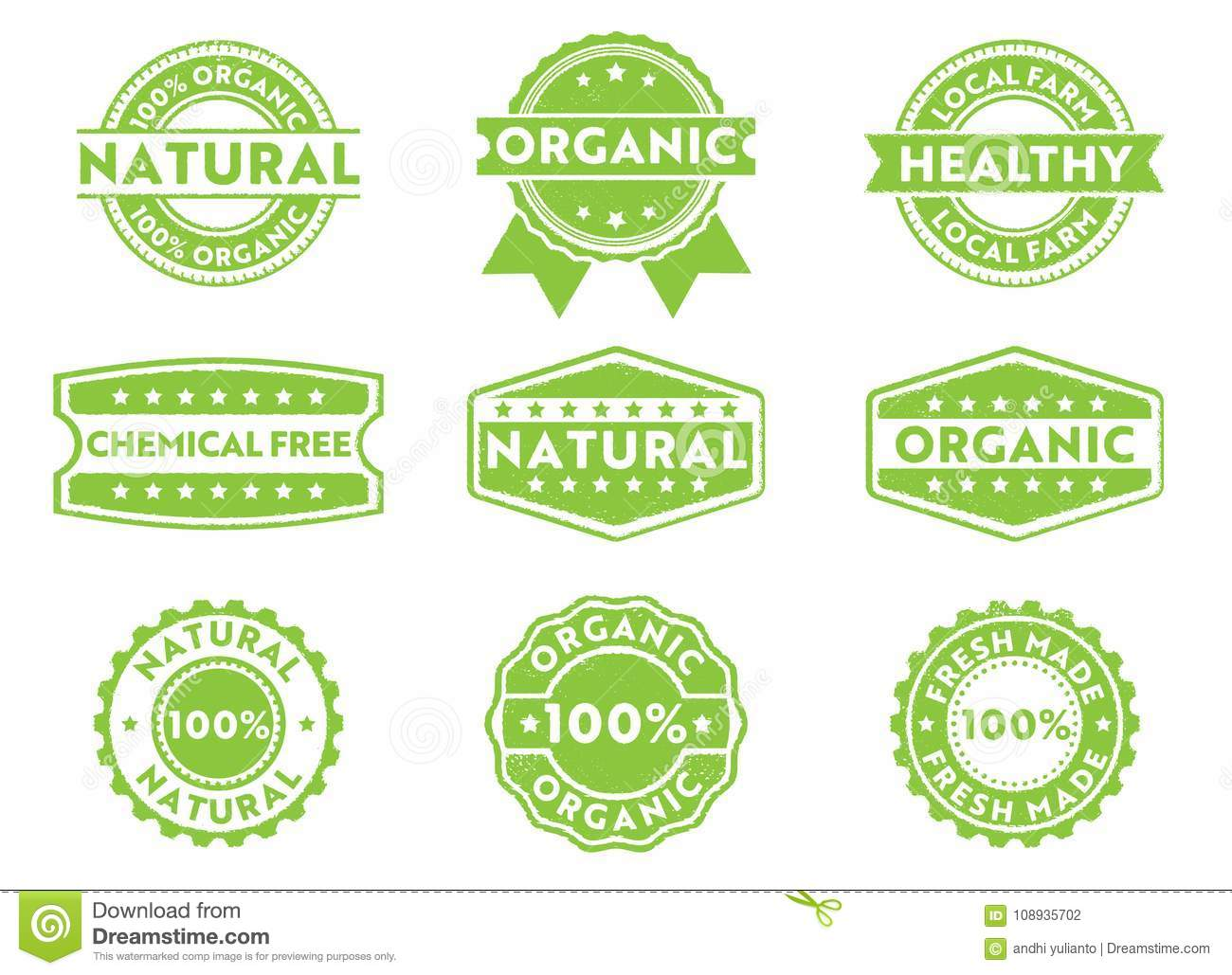 Vector stamp badge label for marketing selling organic, natural, fresh made, chemical free, local products