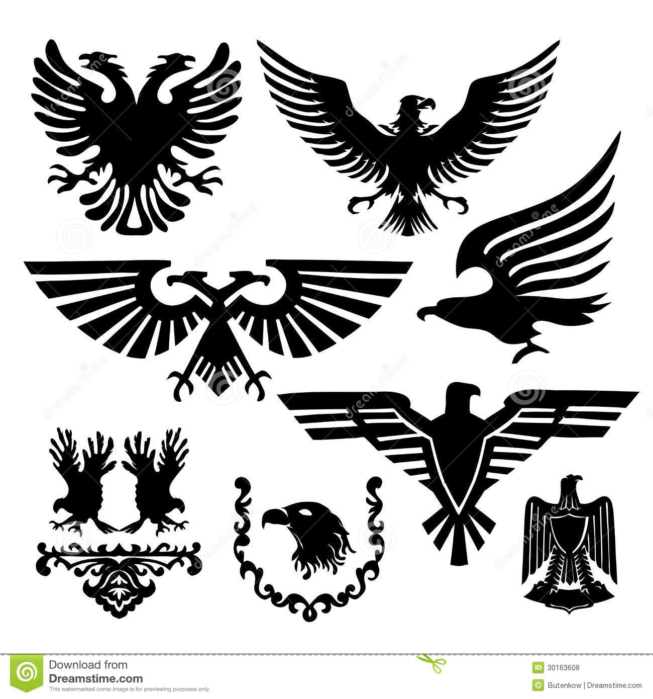 Vector Stamp Collection Black Eagles