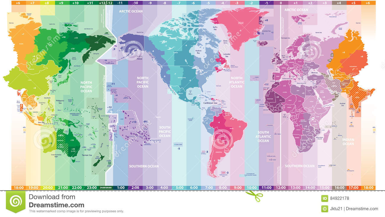 Vector Standard Time Zones Of The World Political Map ...