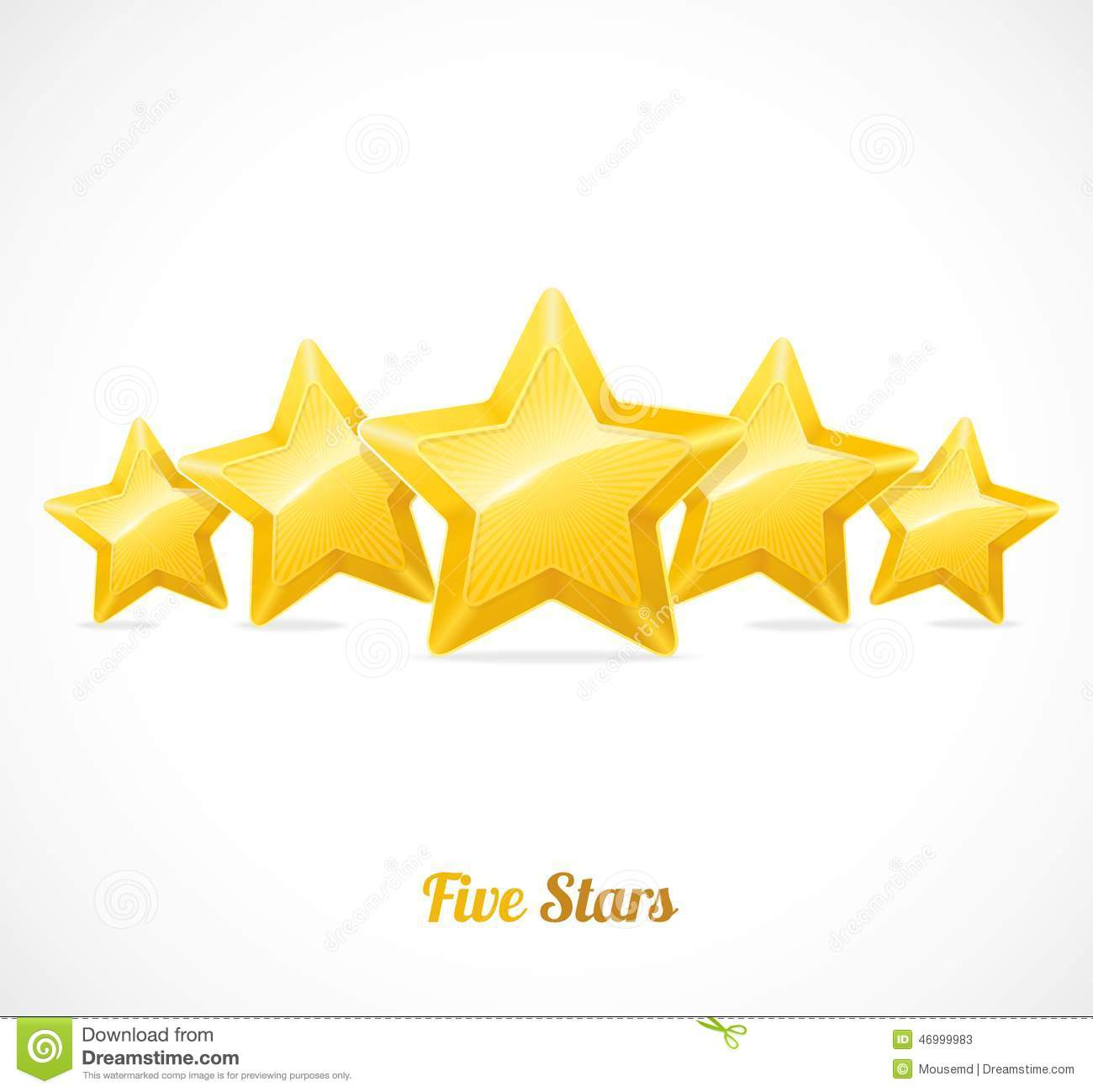 Vector Star Rating With Five Gold Stars Concept Stock ...