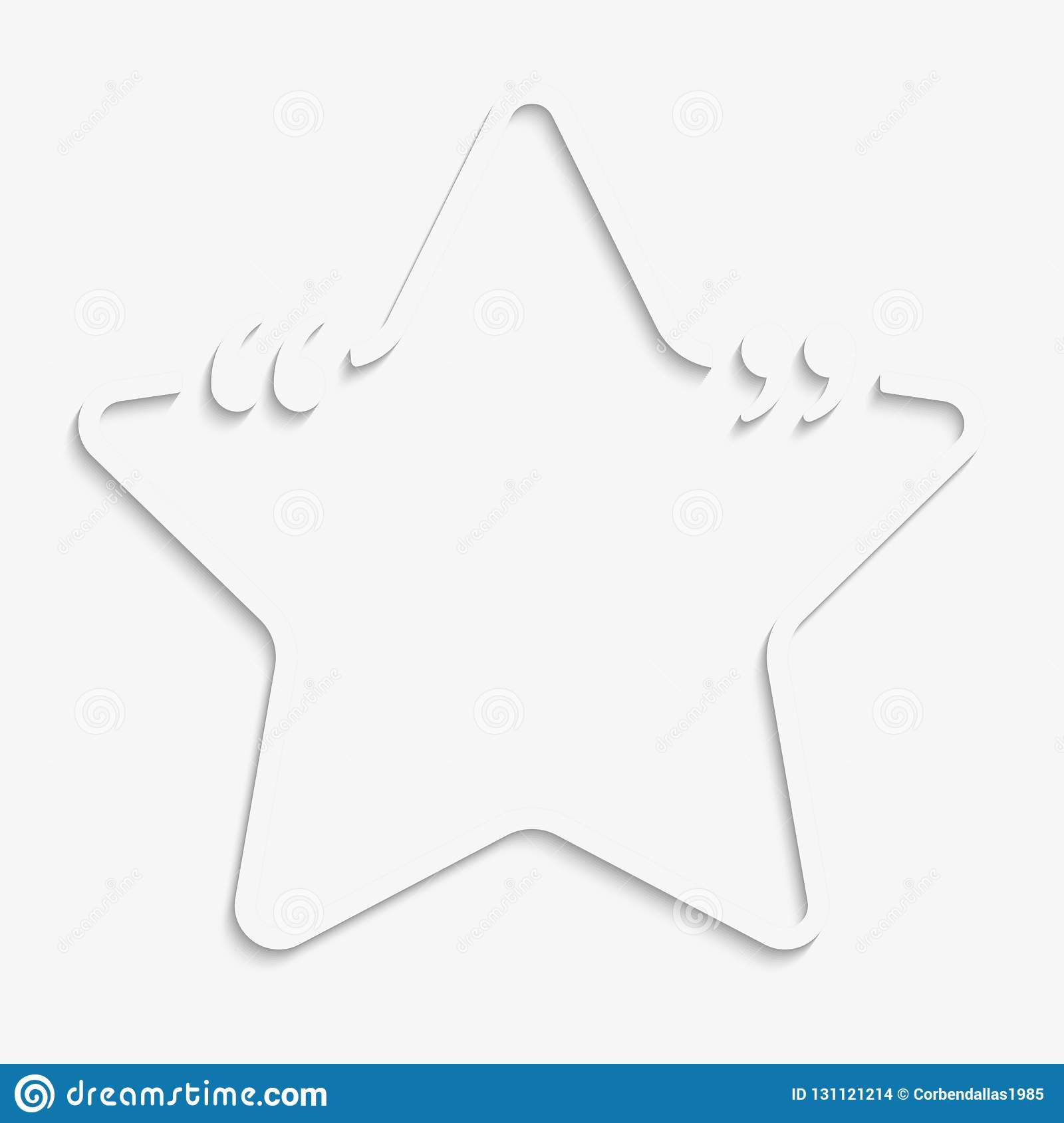 Vector Star Speech Bubble Quote Blank Template.