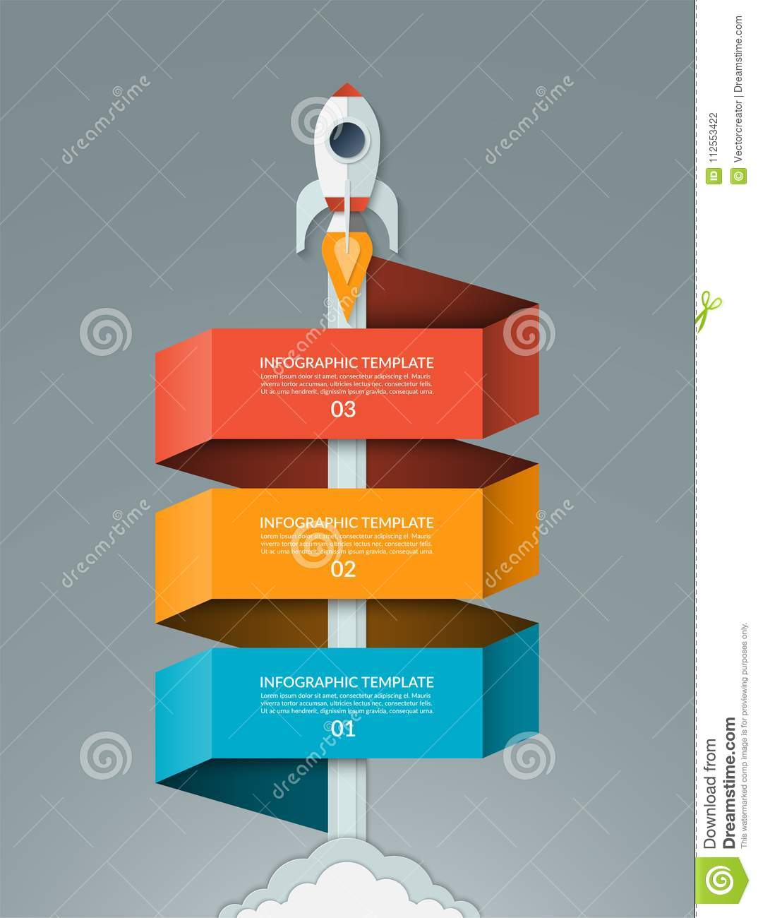 Vector startup infographics. Starting space rocket with 3 options banner.