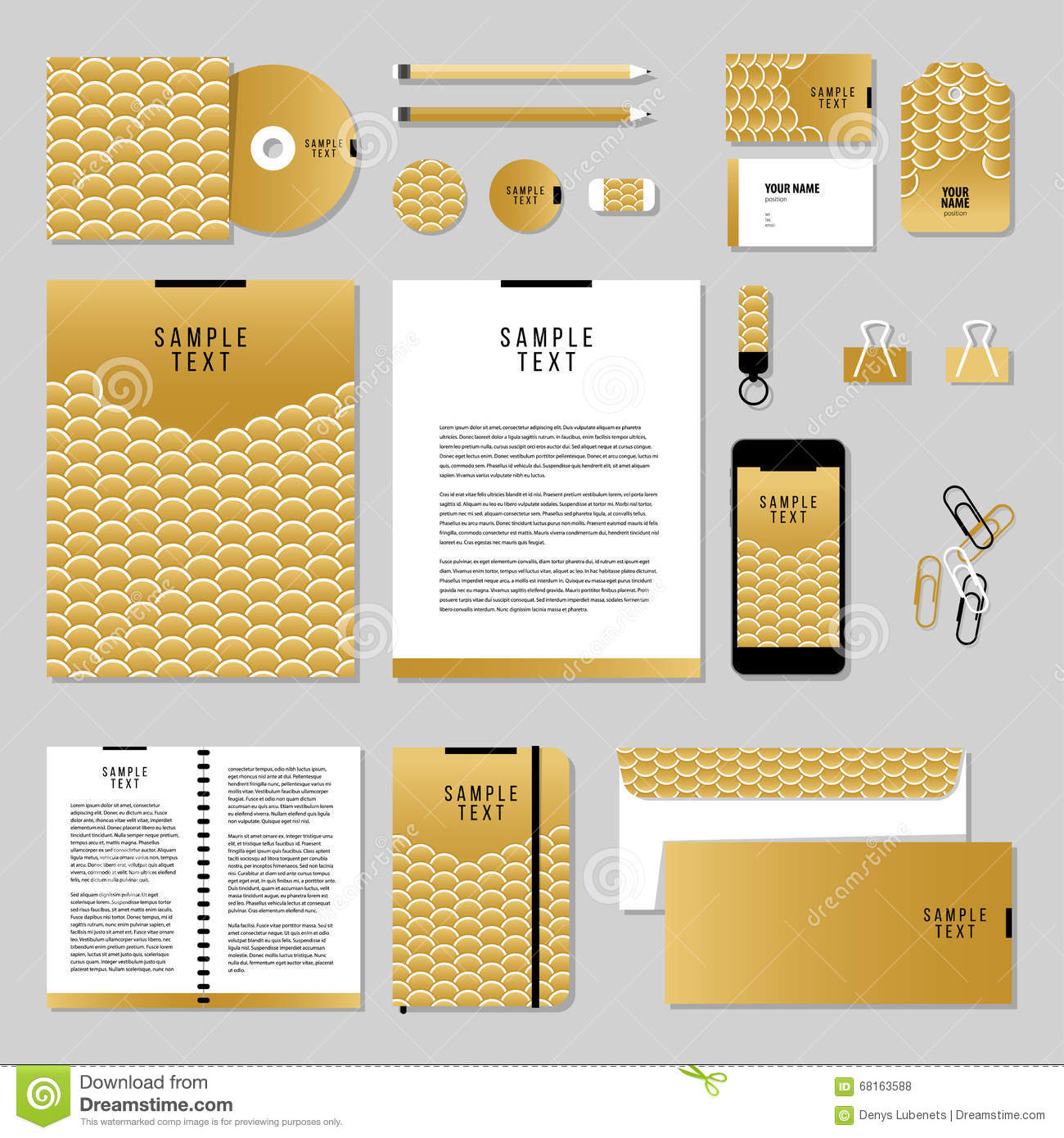 Vector Stationery Template Design With Gold Fish Or Snake Scales