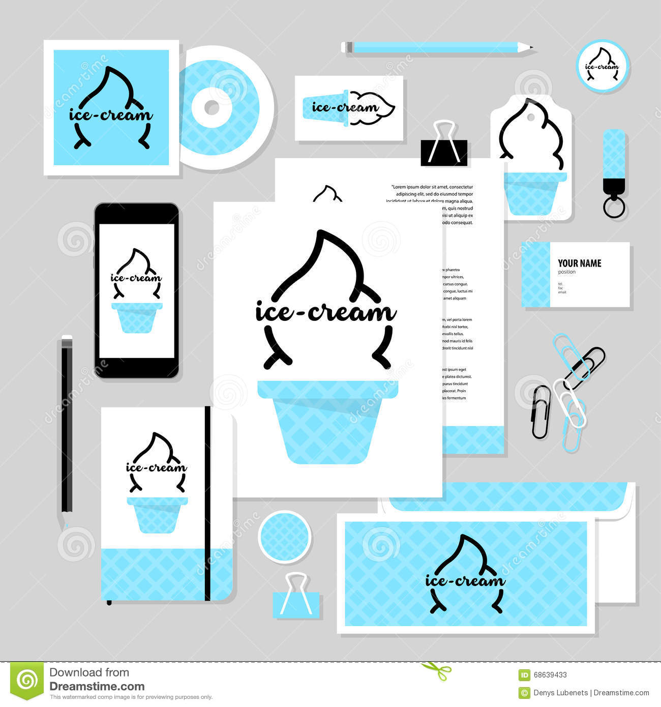 vector stationery template design with ice cream elements stock