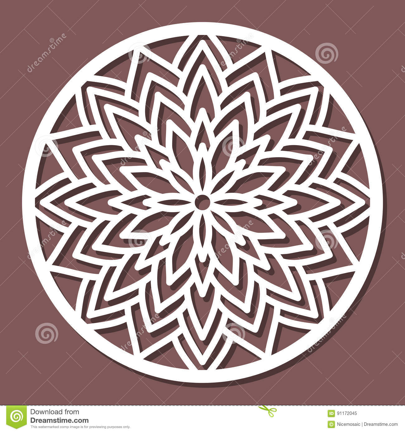 vector stencil lacy round ornament mandala with carved openwork