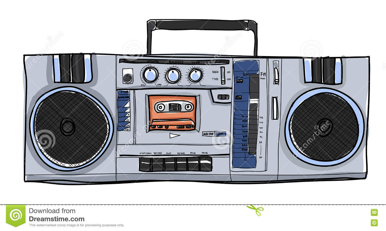 Boombox Retro Vintage Style Vector Illustration Vector ...