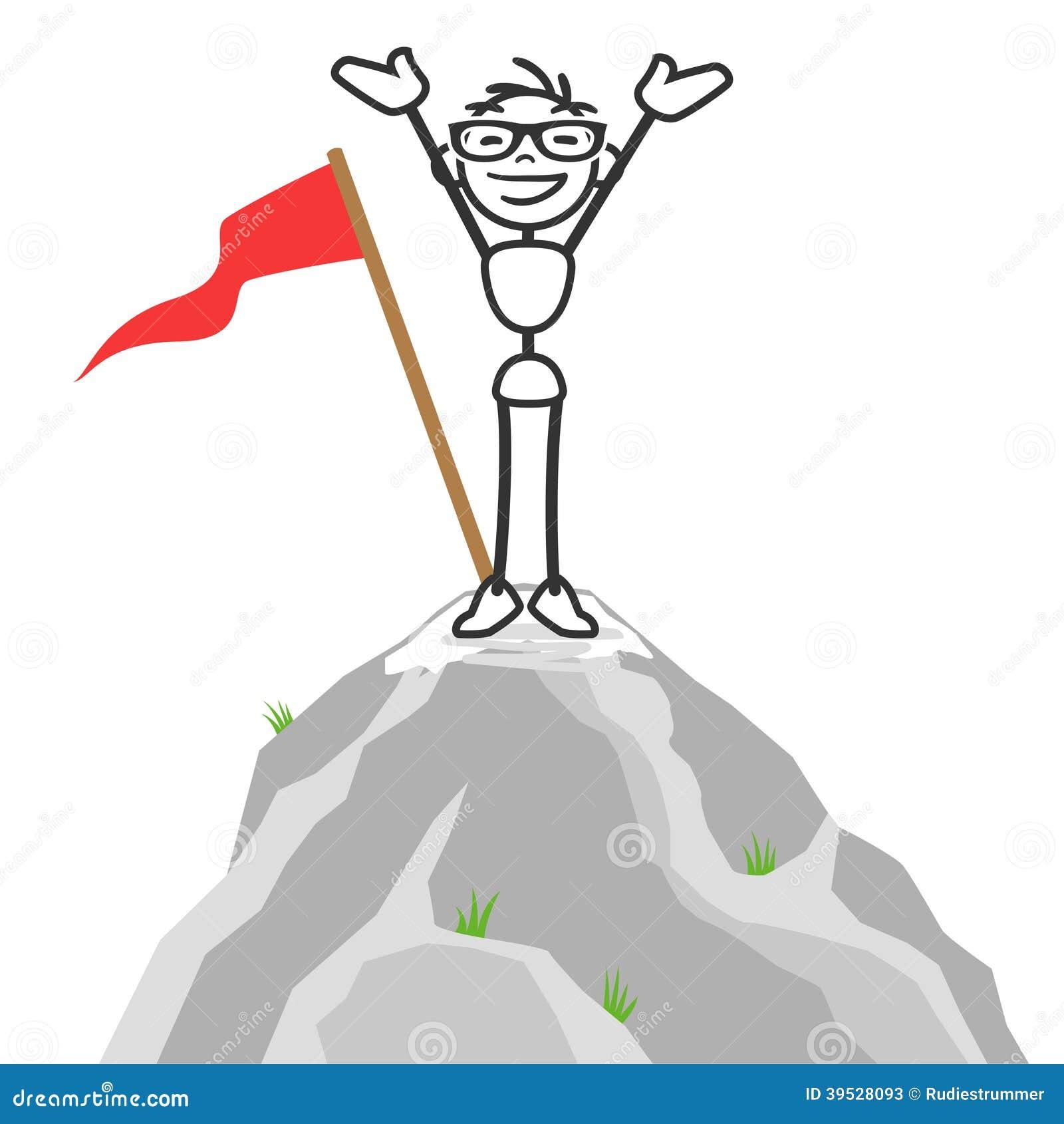 Vector Stick Man Successful Mountain Top Stock Vector ...