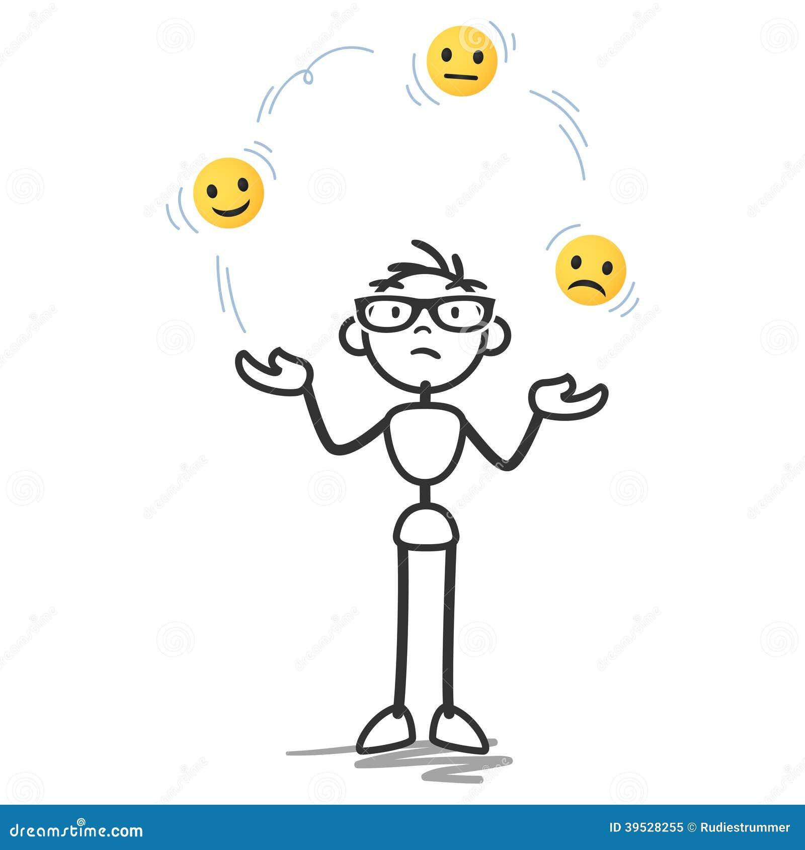Vector Stickman Juggling, Balls, Sad, Happy Faces Stock ...