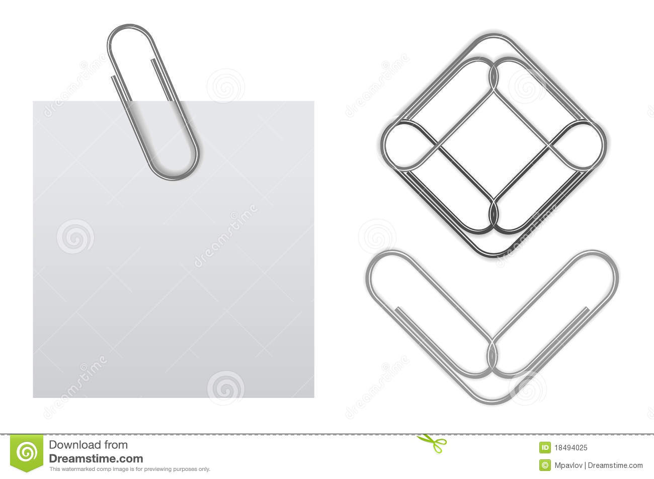 vector sticky note with paper clip stock vector - illustration of