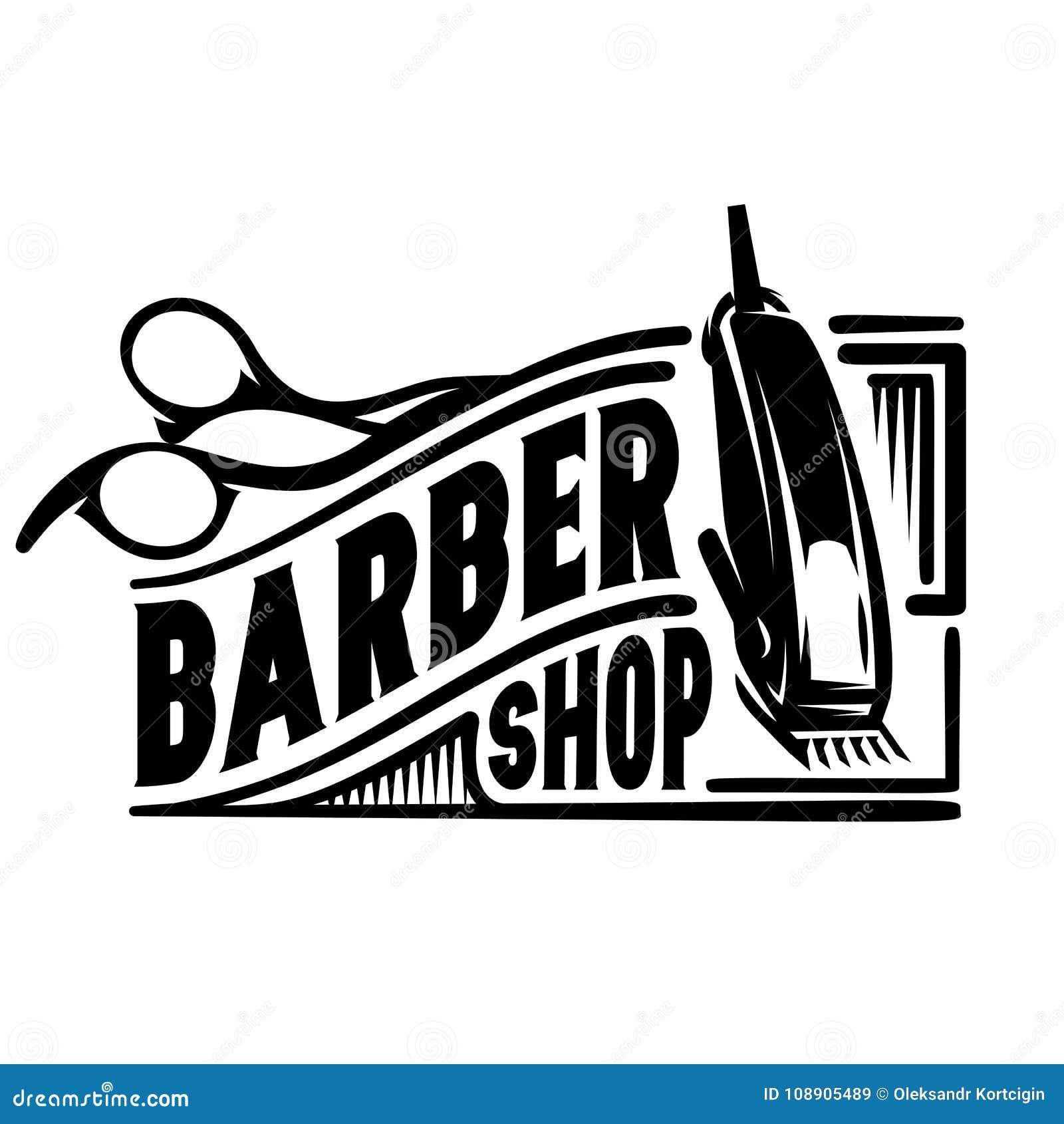 Vector Stilvolles Logo Für Friseursalon Mit Scheren Und Scherer