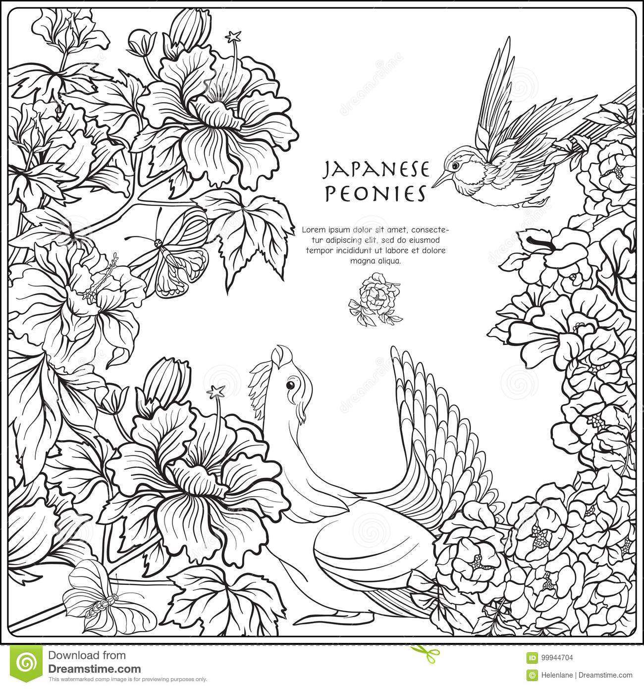 Vector Stock Illustration With Japanese Peony And Wild Roses And ...