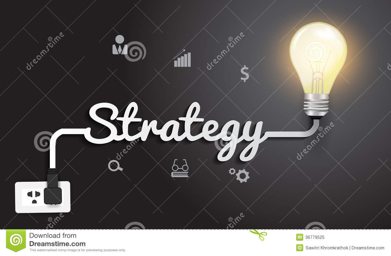 vector strategy concept with creative light bulb i royalty free stock photo