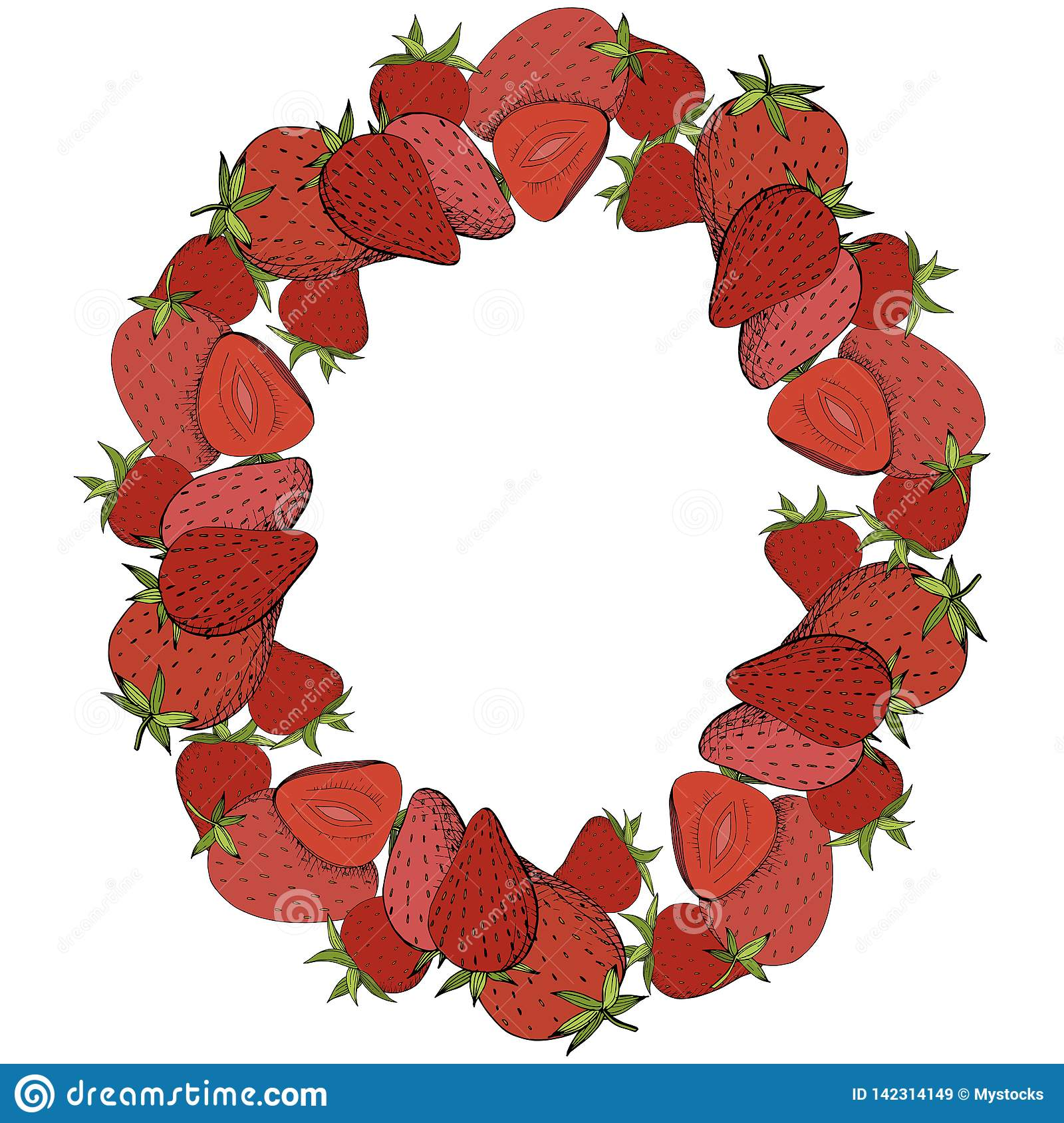 Vector Strawberry fresh fruit healthy food. Red and green engraved ink art. Frame border ornament square.