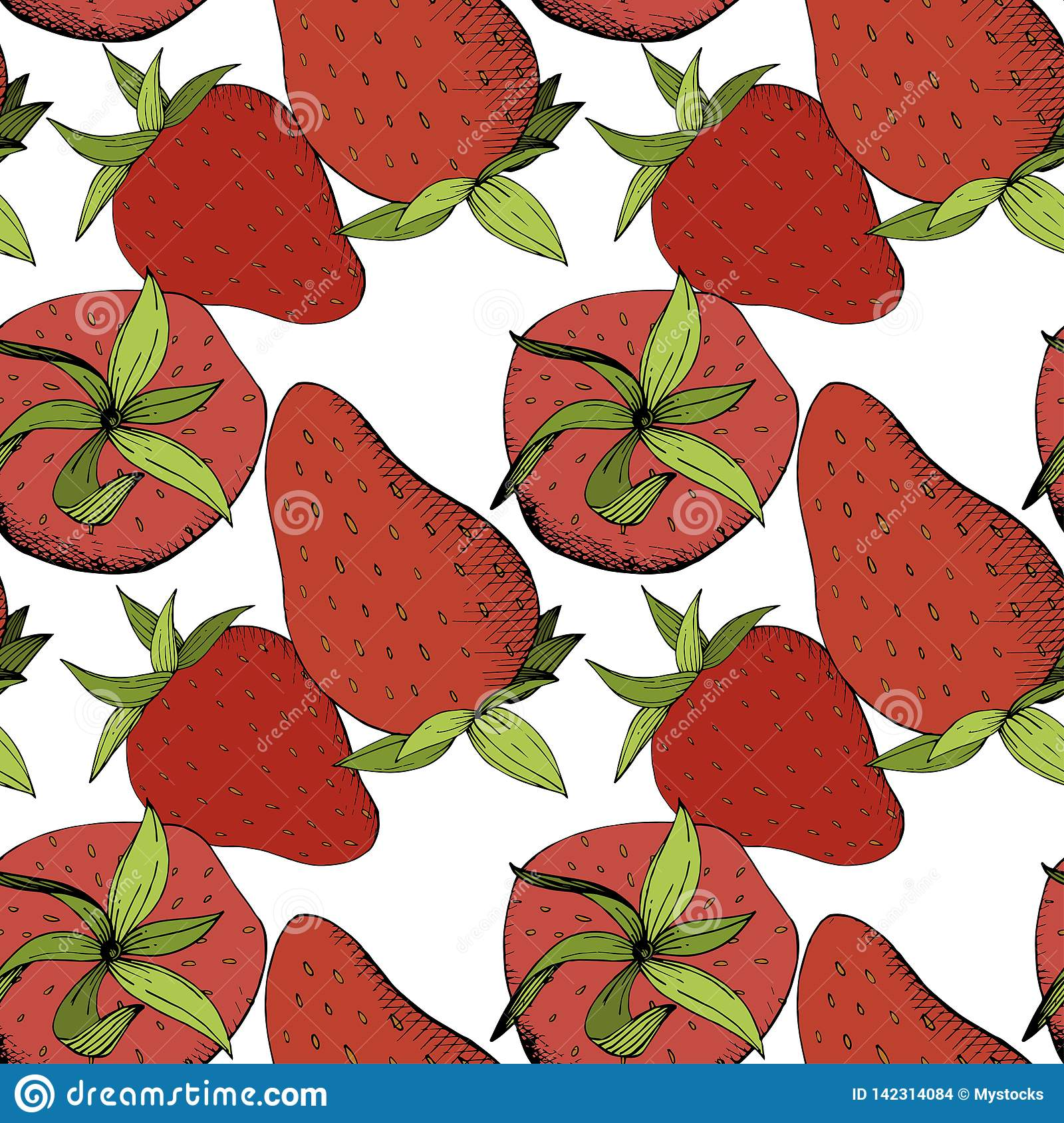 Vector Strawberry fresh fruit healthy food. Red and green engraved ink art. Seamless background pattern.