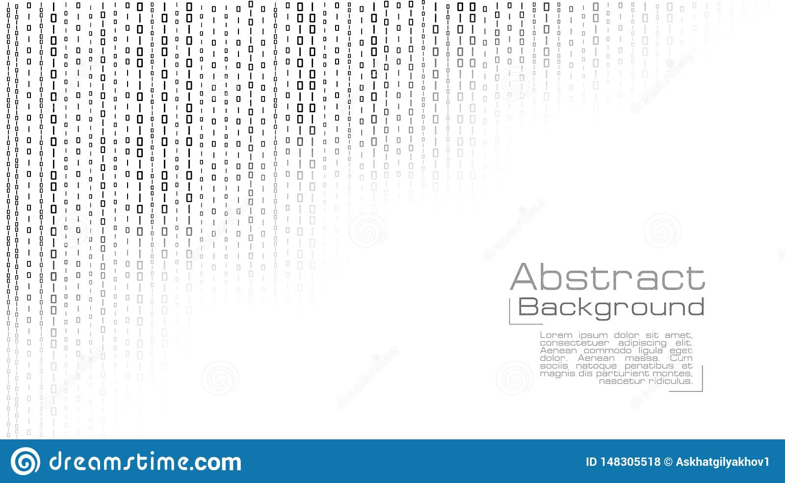 Vector streaming binary code on white background.