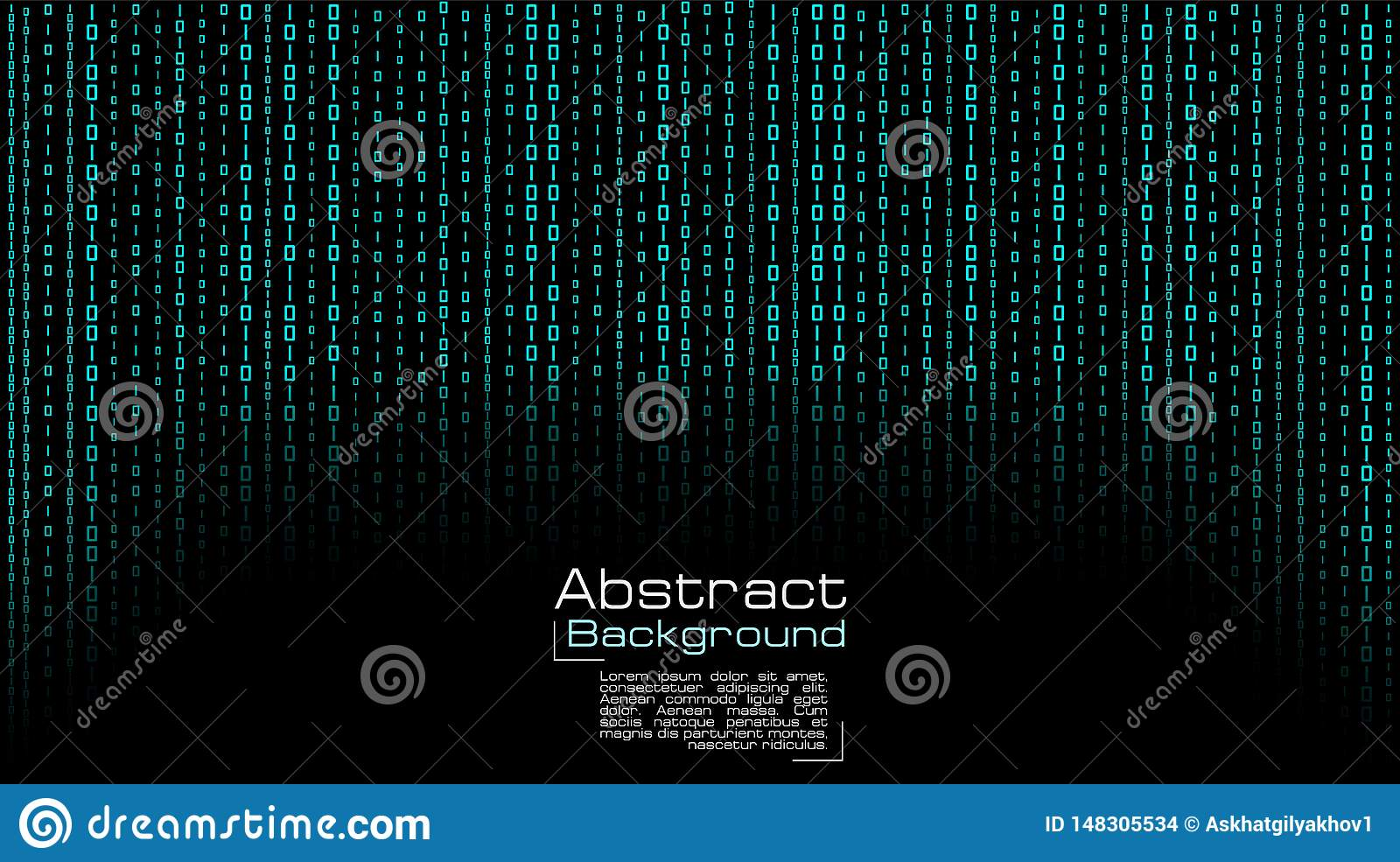 Vector Streaming Blue Binary Code On Black Background Stock