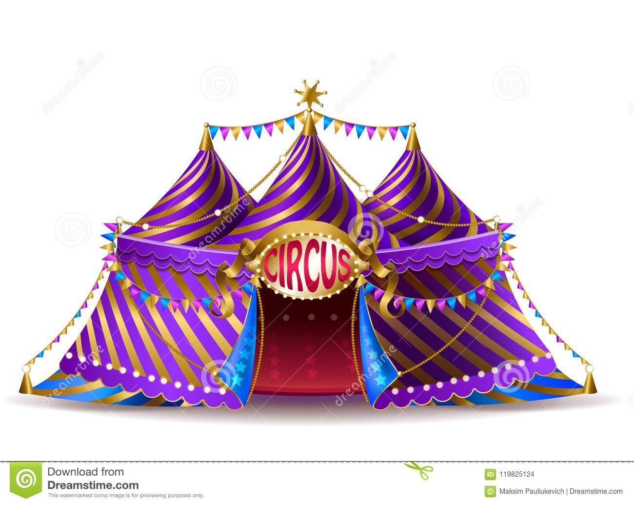 Vector striped circus tent for performances