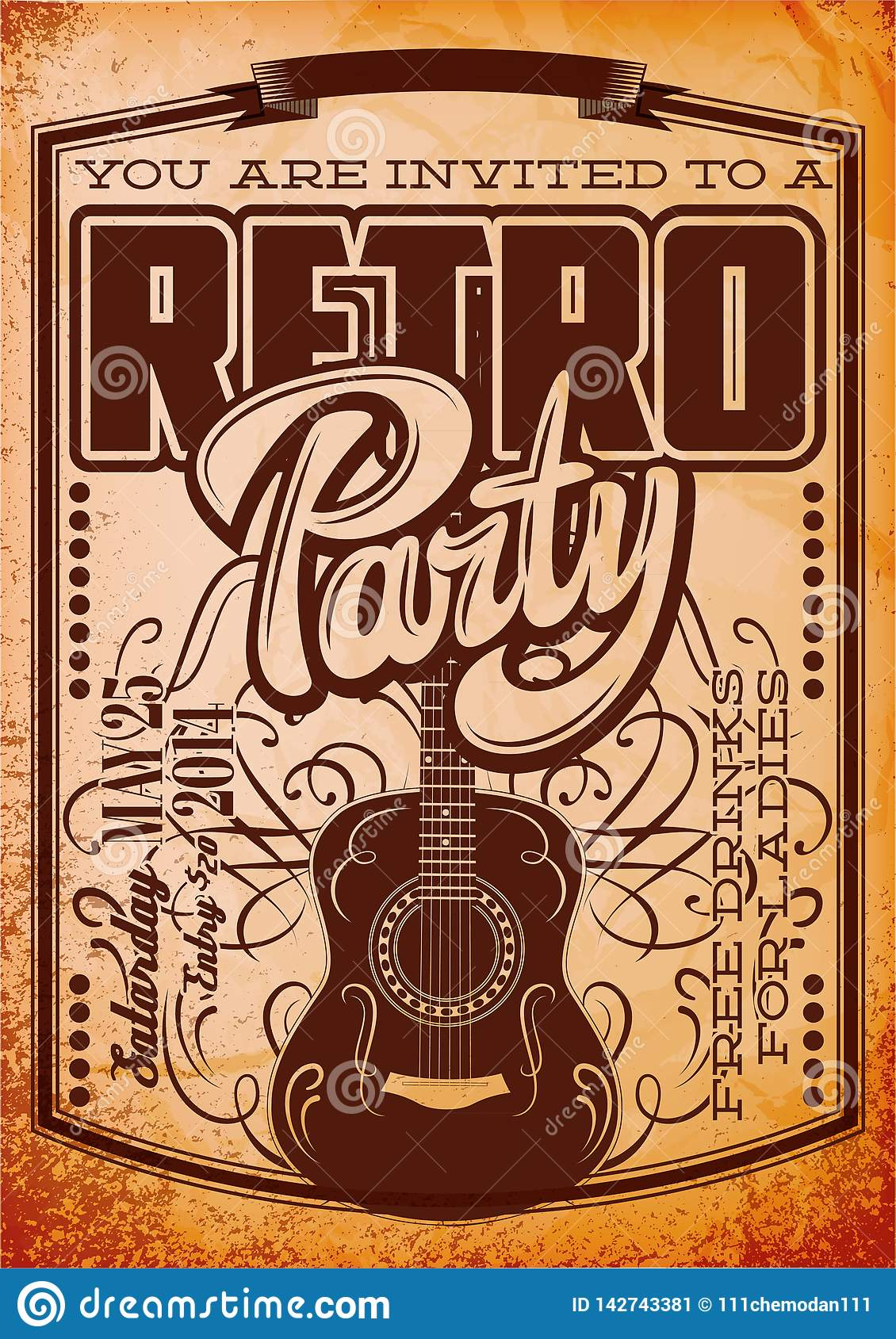 Vector Stylish Color Retro Party Template with Guitar