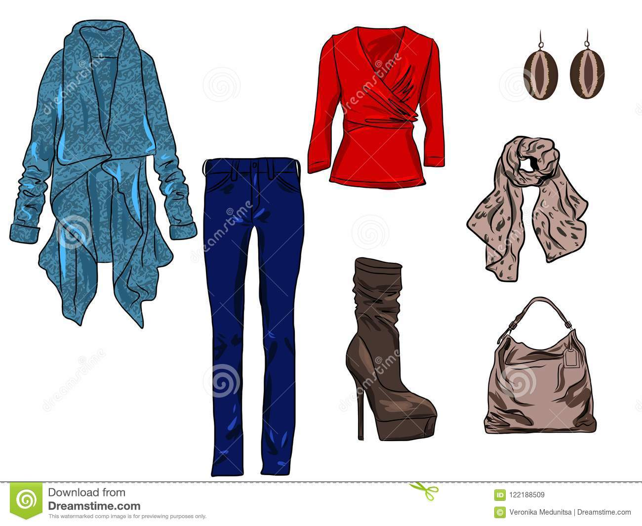 72a7c85c45 Vector Stylish Fashion Set Of Woman`s Autumn