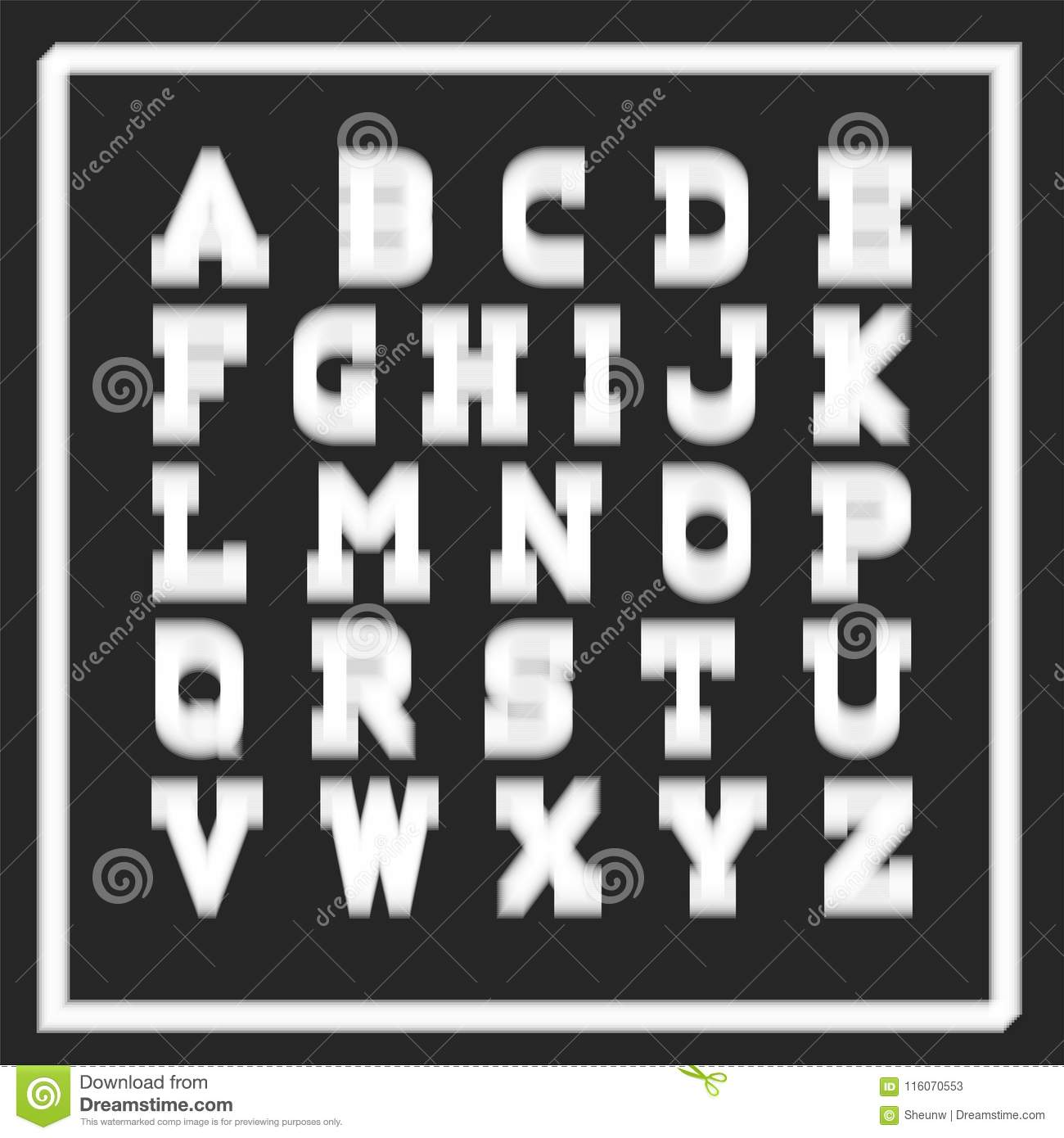 Vector Stylish Font English Alphabet  Latin Letters With Blurry