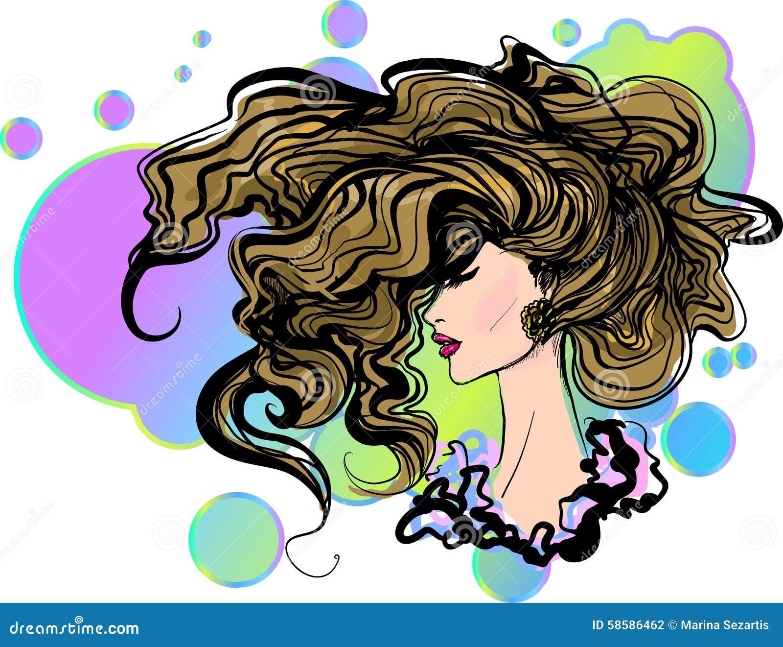 cd20877d466b19 Vector Stylish Hand-drawn Graphic Girl Portrait Stock Vector ...