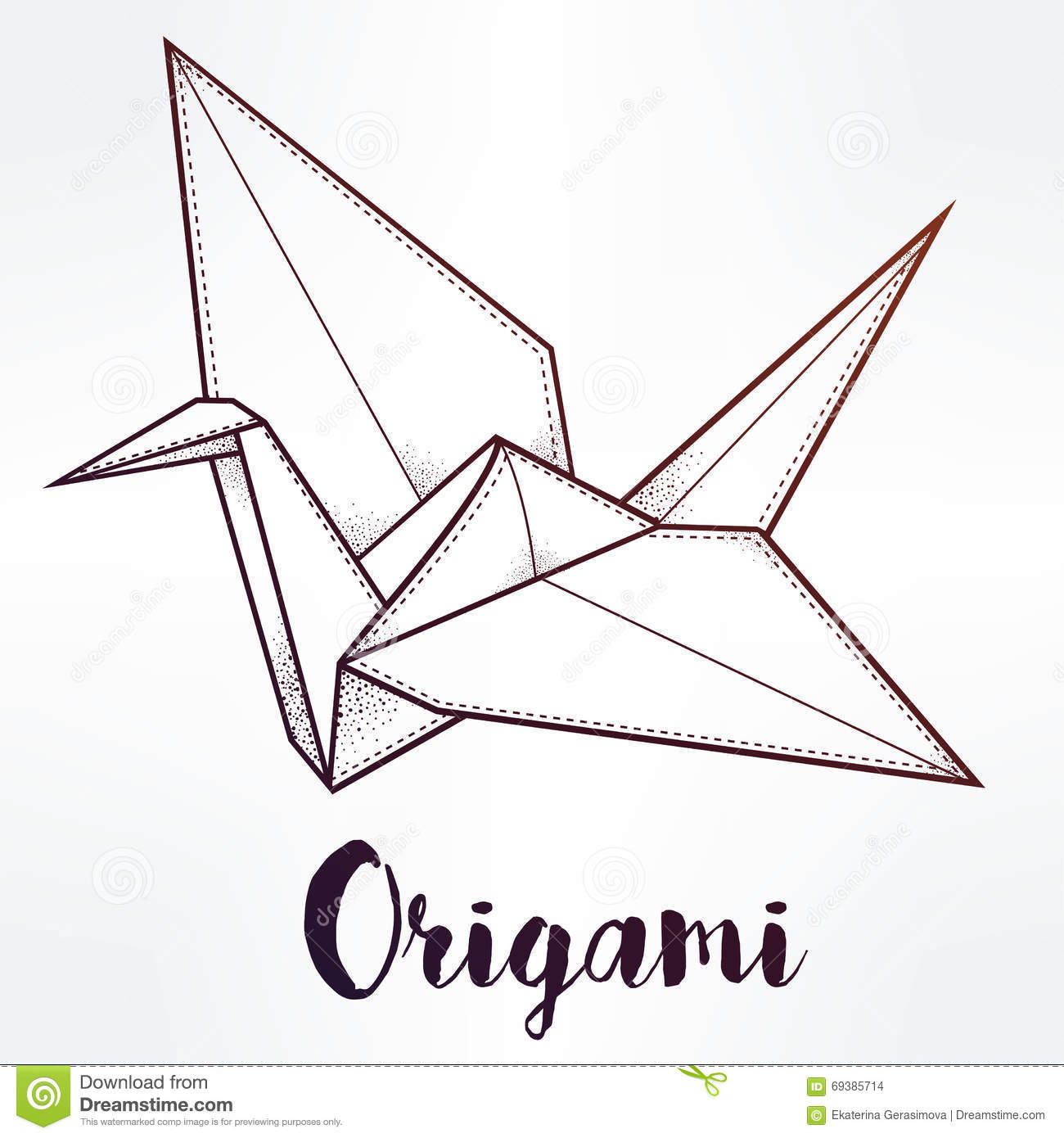 Vector Stylized Paper Crane. Stock Vector - Image: 69385714 - photo#10