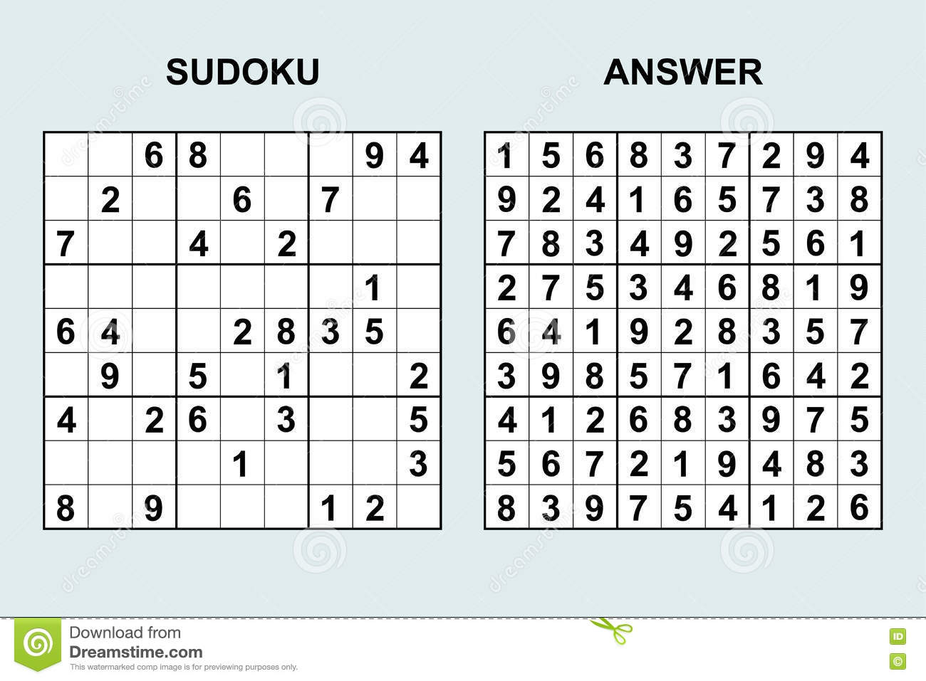 Vector Sudoku With Answer Stock Image 72895123