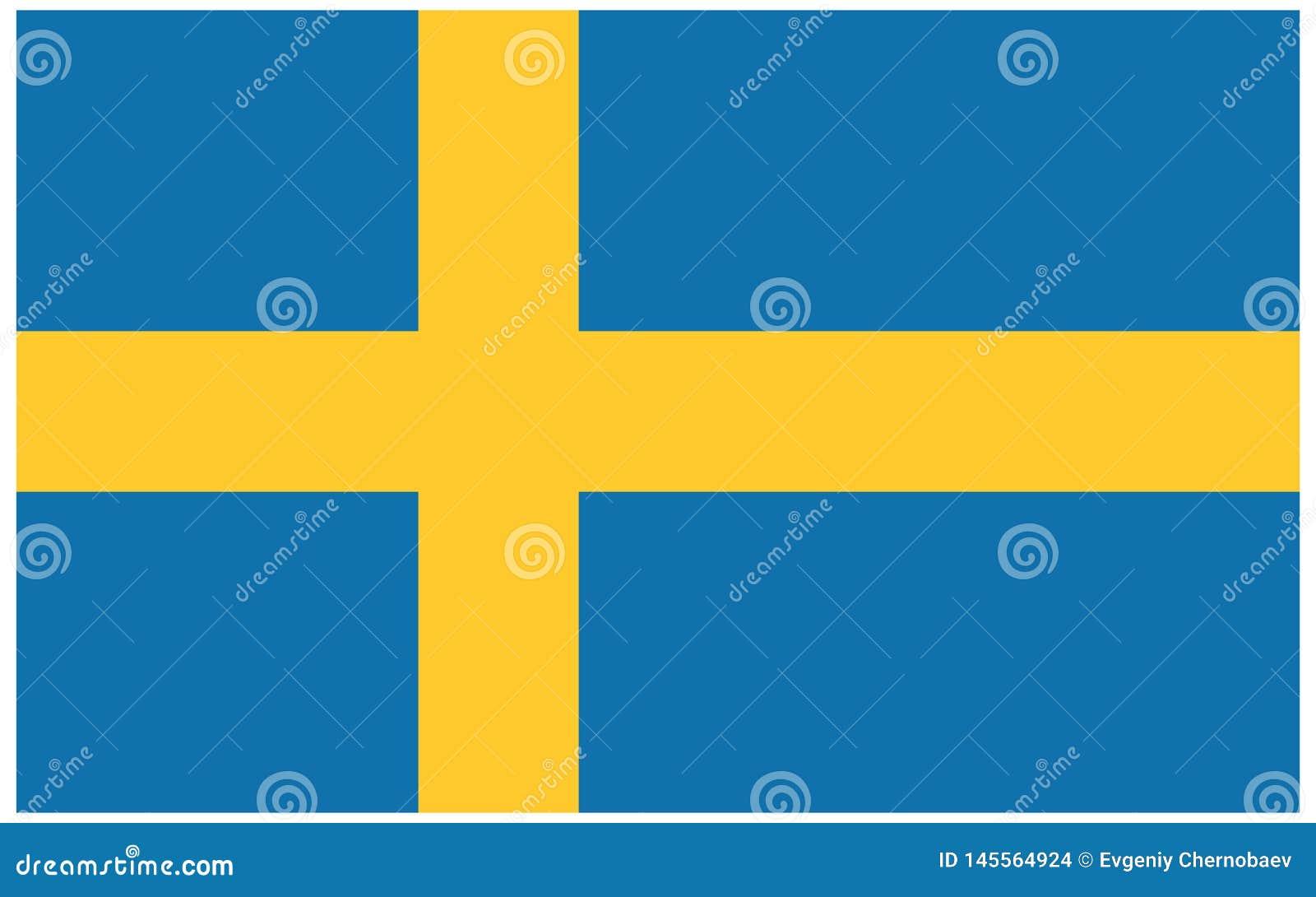 Vector sueco eps10 de la bandera Fondo correcto de los colores y de las proporciones de la bandera de Sdewish