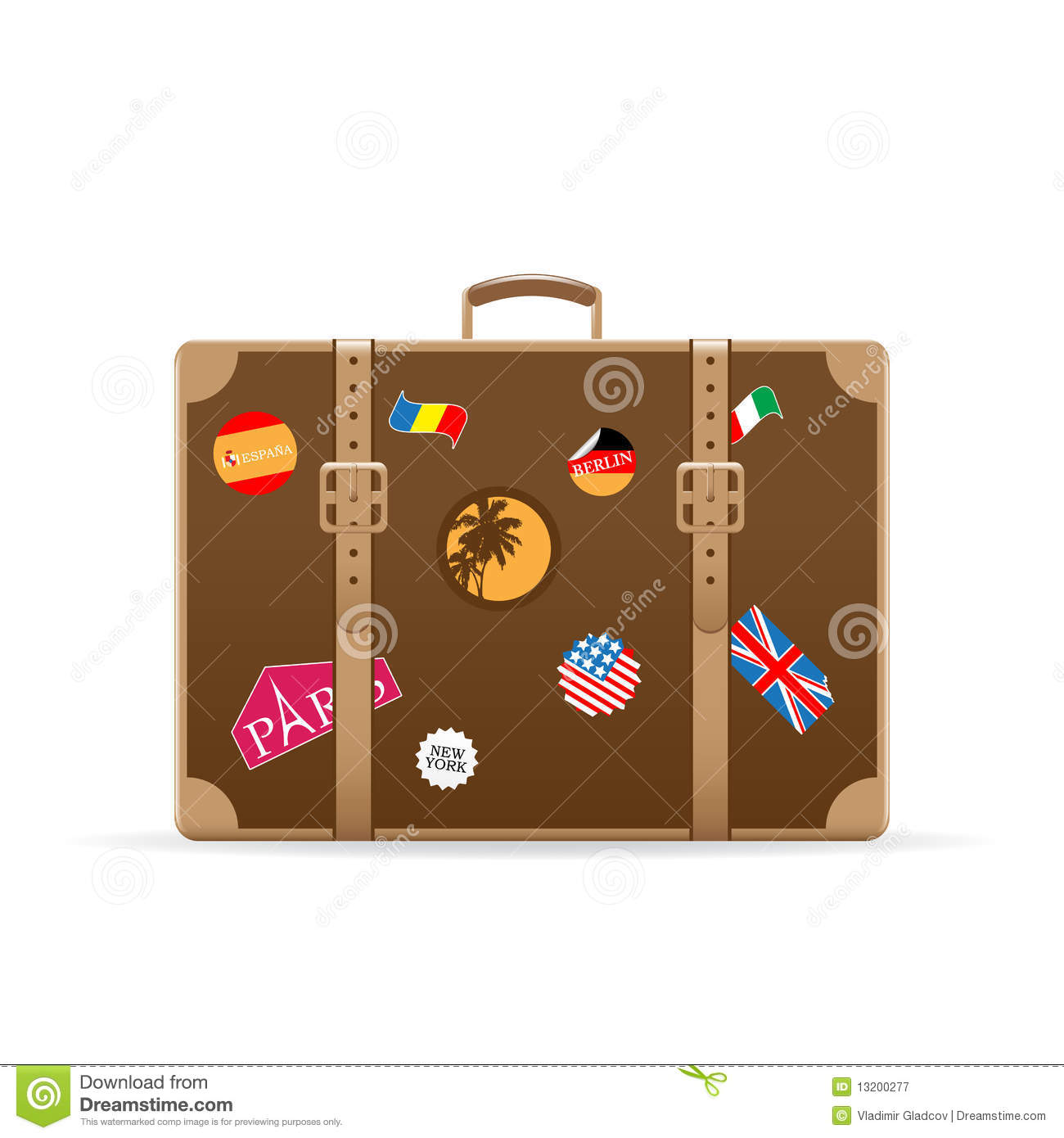 Vector Suitcase With Travel Stickers Royalty Free Stock