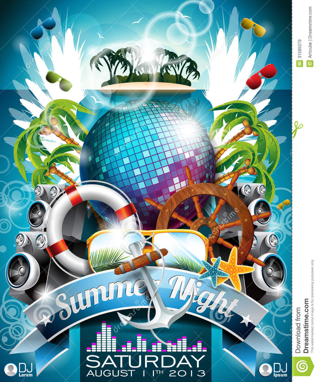 7 Best Philadelphia Flyers Themed Party Images On: Vector Summer Beach Party Flyer Design With Disco Ball