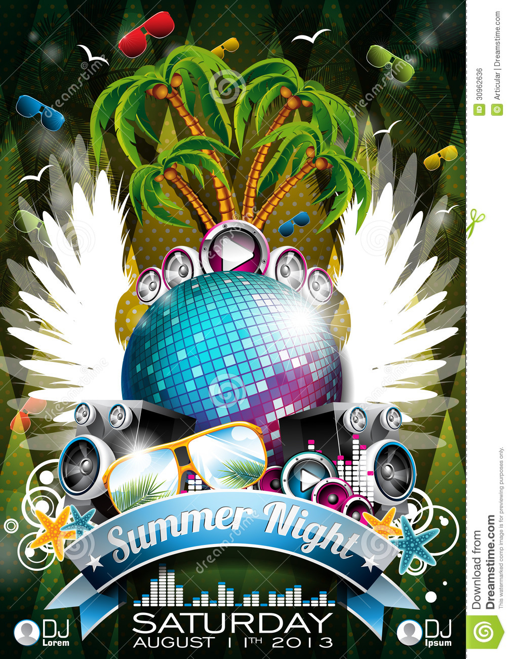 vector summer beach party flyer design with speake stock vector