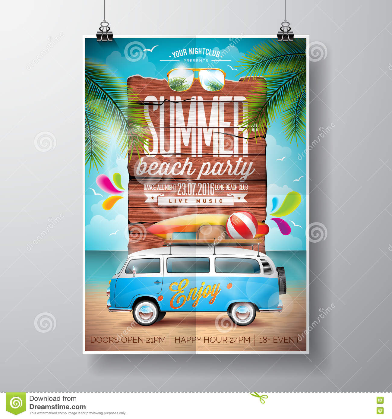 Vector Summer Beach Party Flyer Design With Travel Van And Surf Board On Ocean Landscape Background