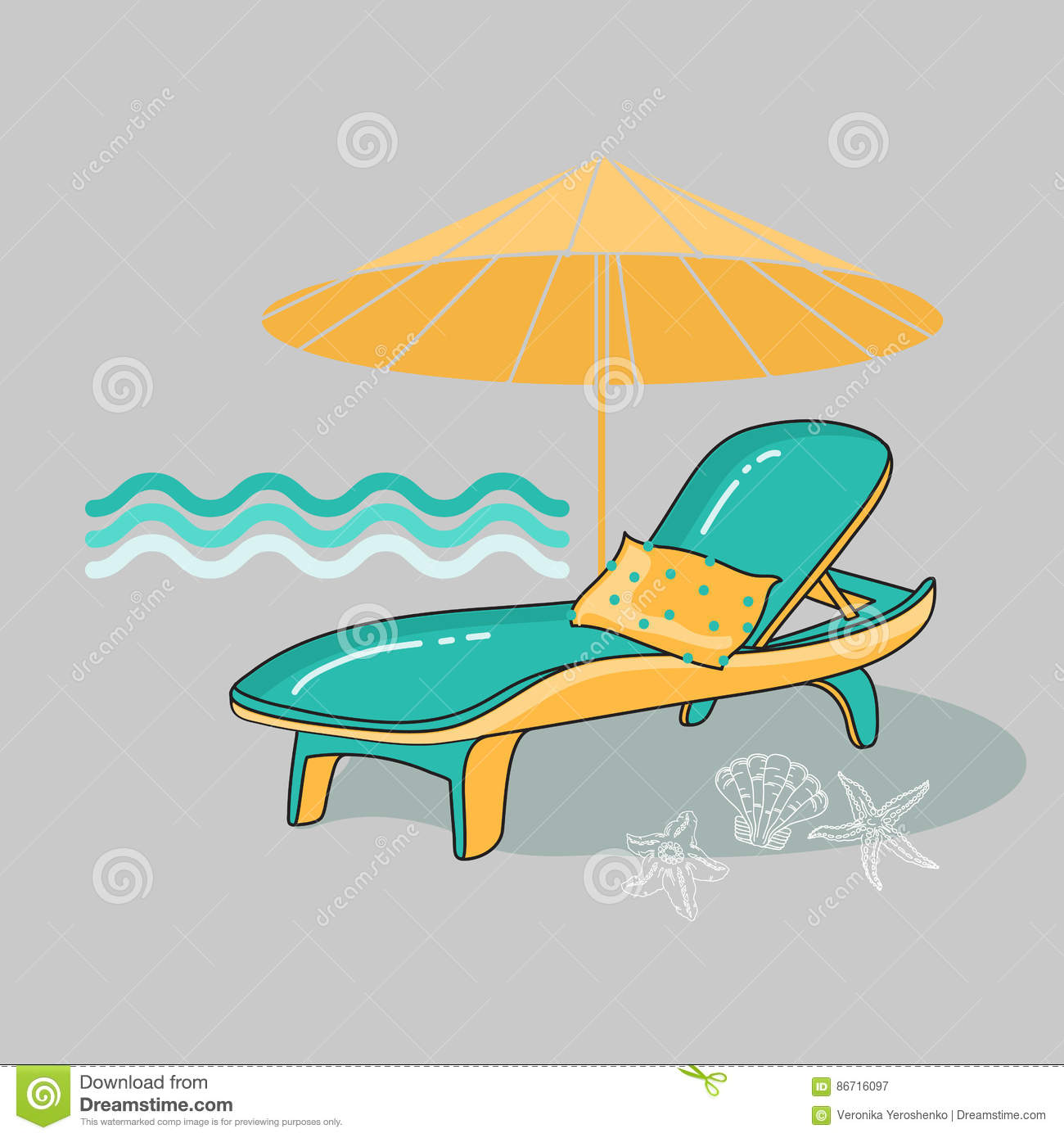 Pleasing Vector Summer Cartoon Illustration Of Beach Lounge Chair Squirreltailoven Fun Painted Chair Ideas Images Squirreltailovenorg