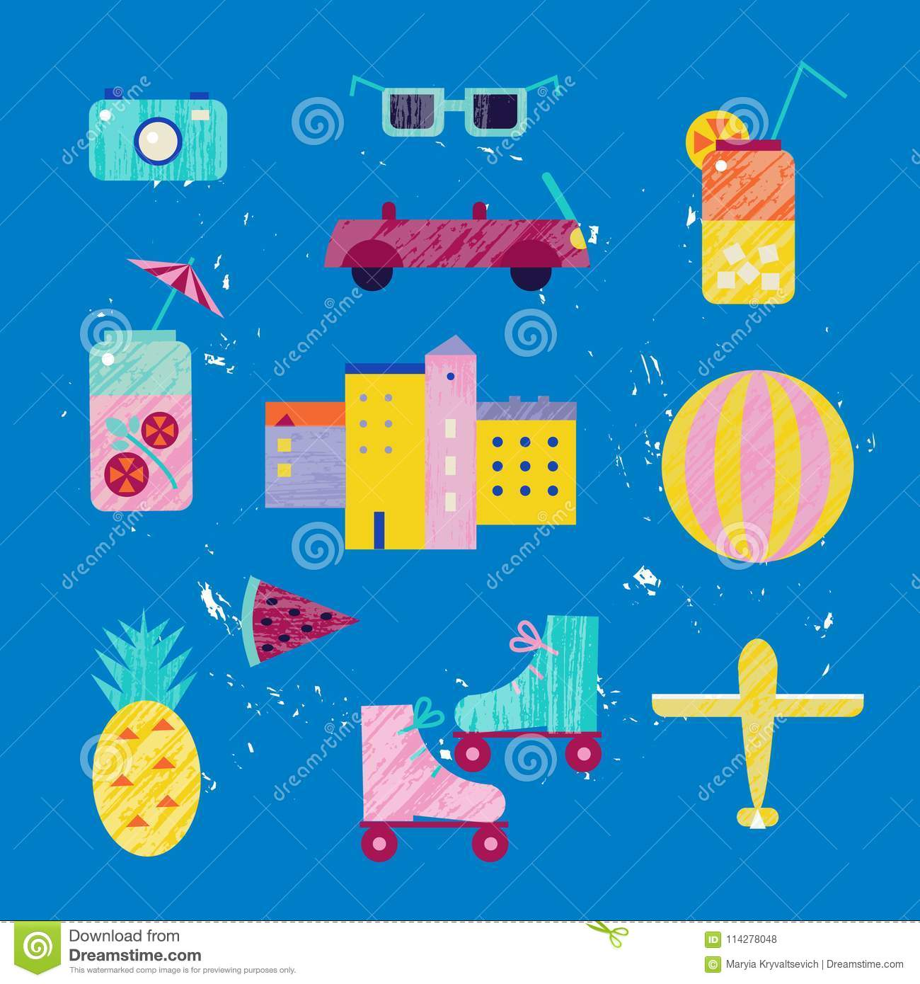 Vector summer colorful illustration, travelling, holidays. Set of town, city, beach objects, isolated on blue background