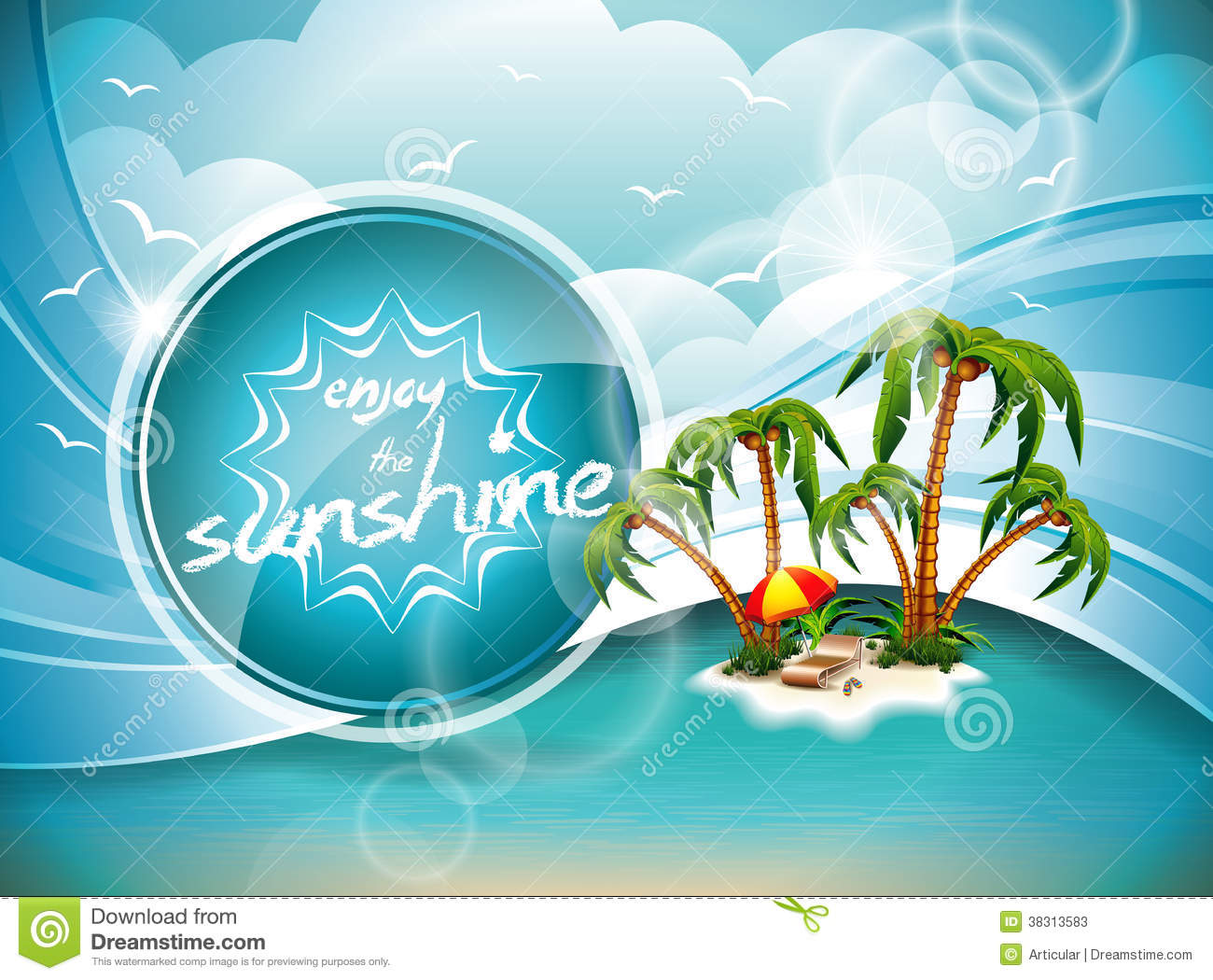 Enjoy Tropical Summer Holidays Backgrounds Vector 04 Free: Vector Summer Holiday Design With Paradise Island. Stock