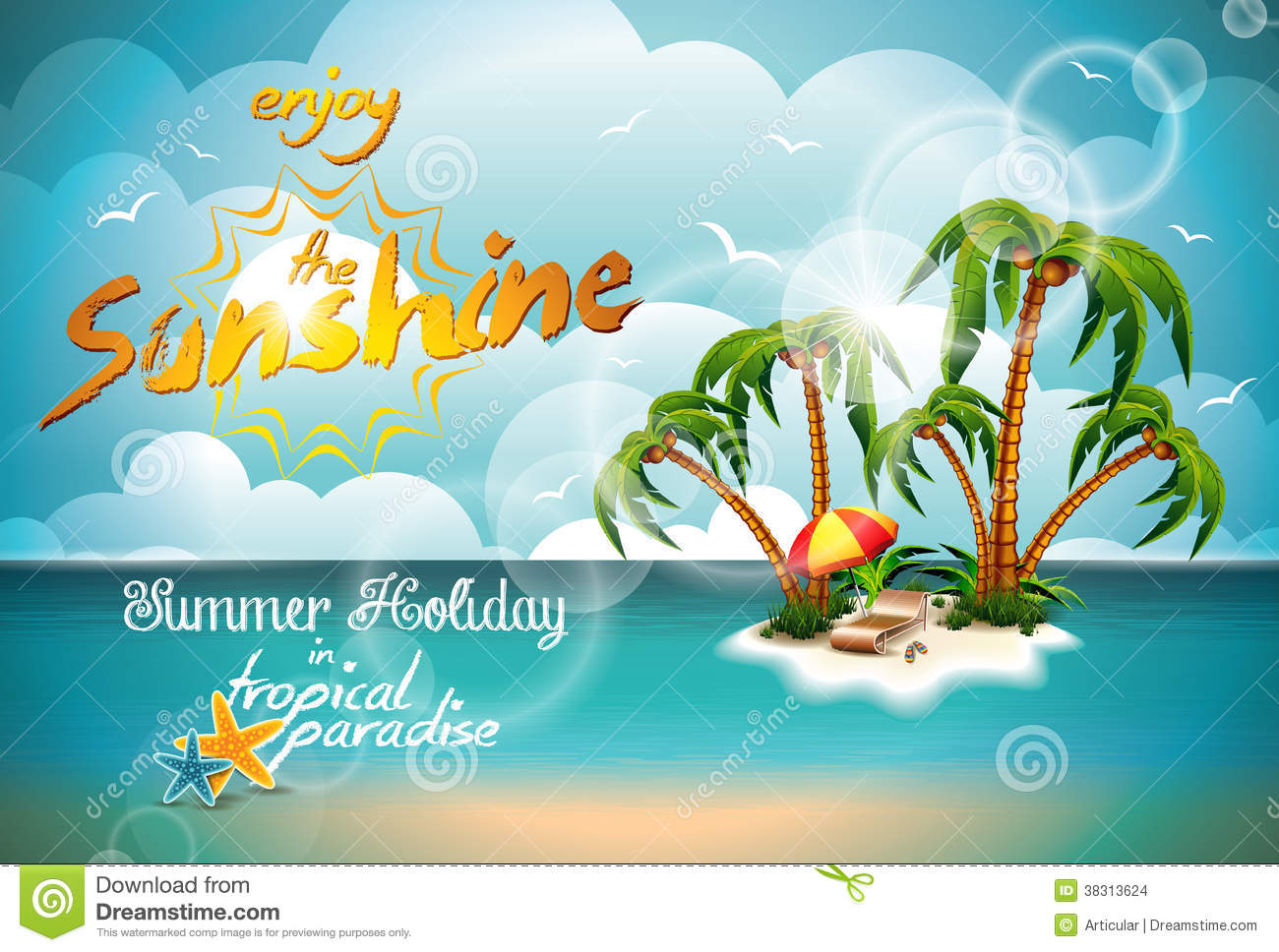 Happy Summer Holidays Background Vector: Vector Summer Holiday Design With Paradise Island. Stock