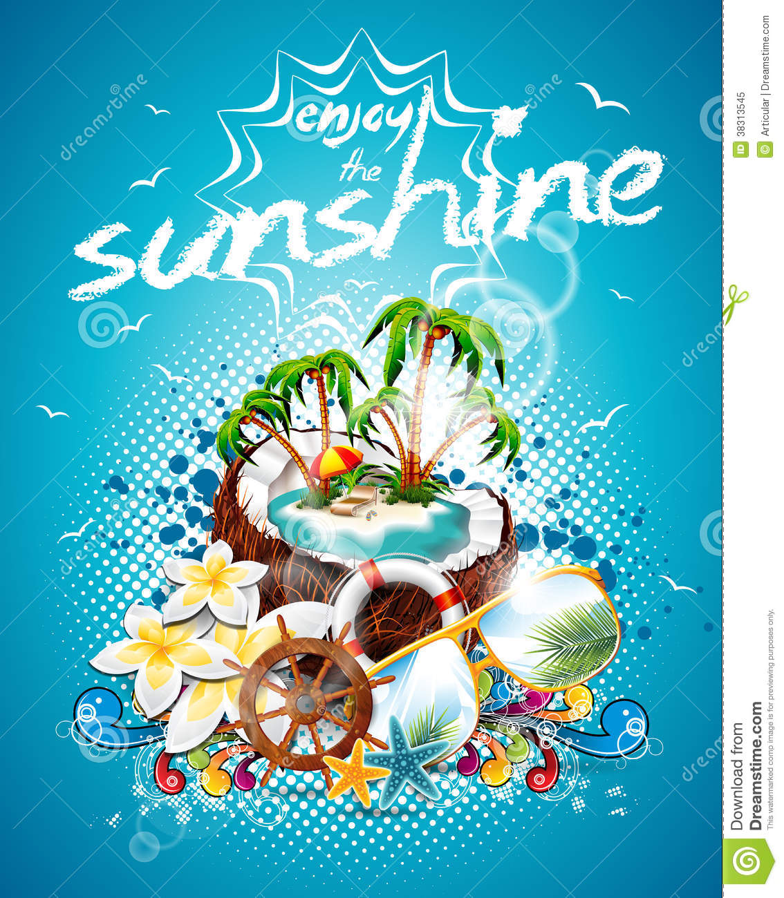 Vector Summer Holiday Flyer Design With Coconut And