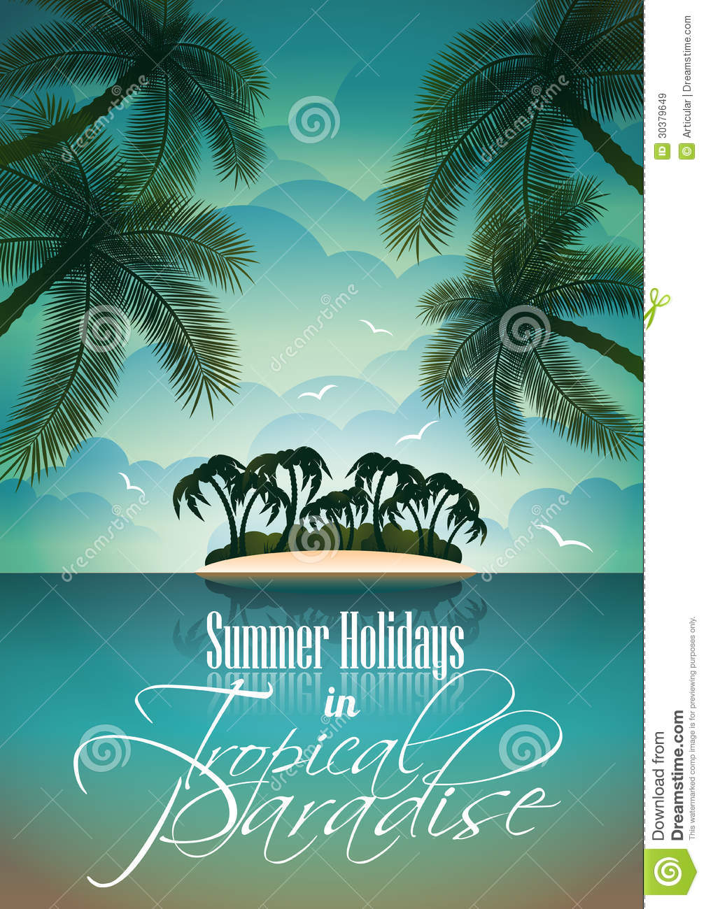 Vector Summer Holiday Flyer Design With Palm Trees