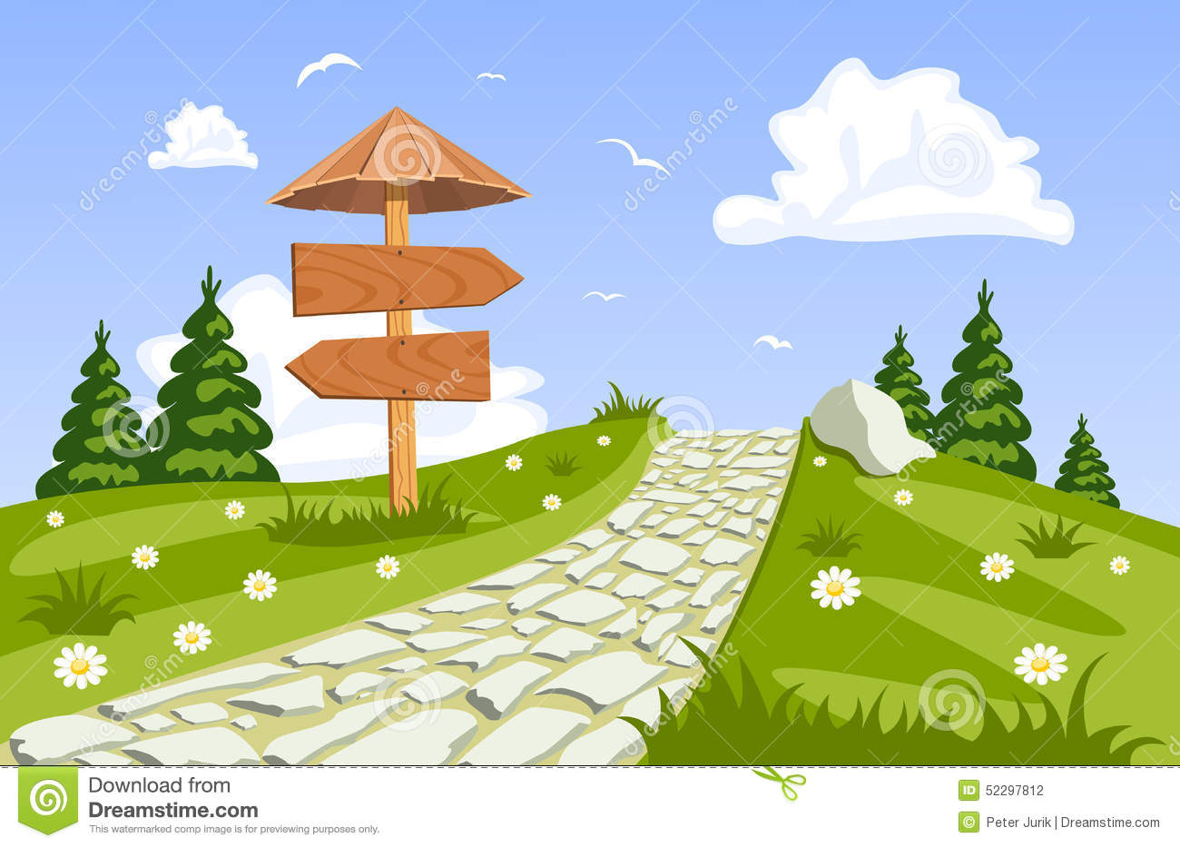Landscape Illustration Vector Free: Vector Summer Landscape With A Walkway Stock Vector