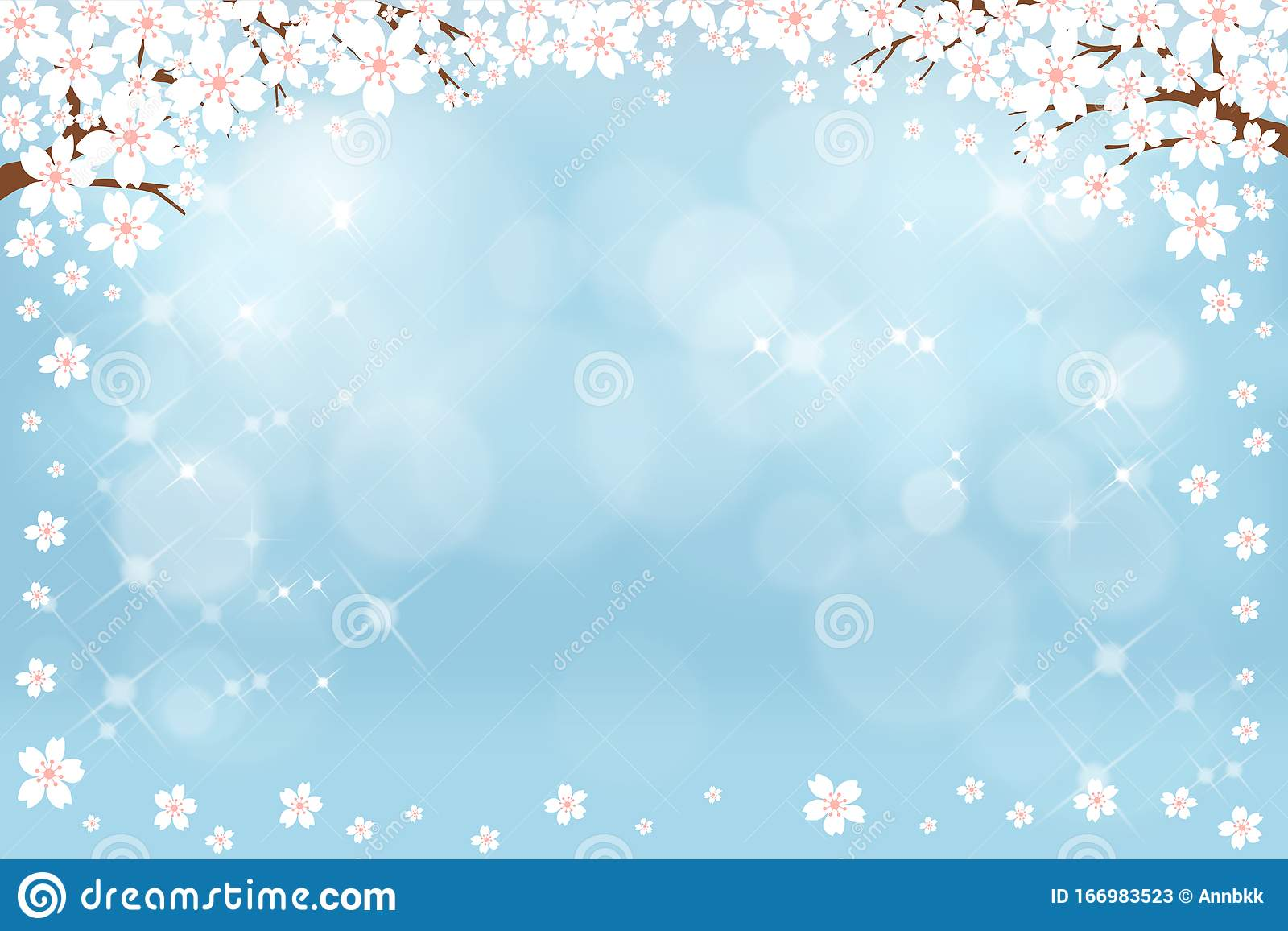 Vector Summer Nature Background With Cute White Sakura On Blue