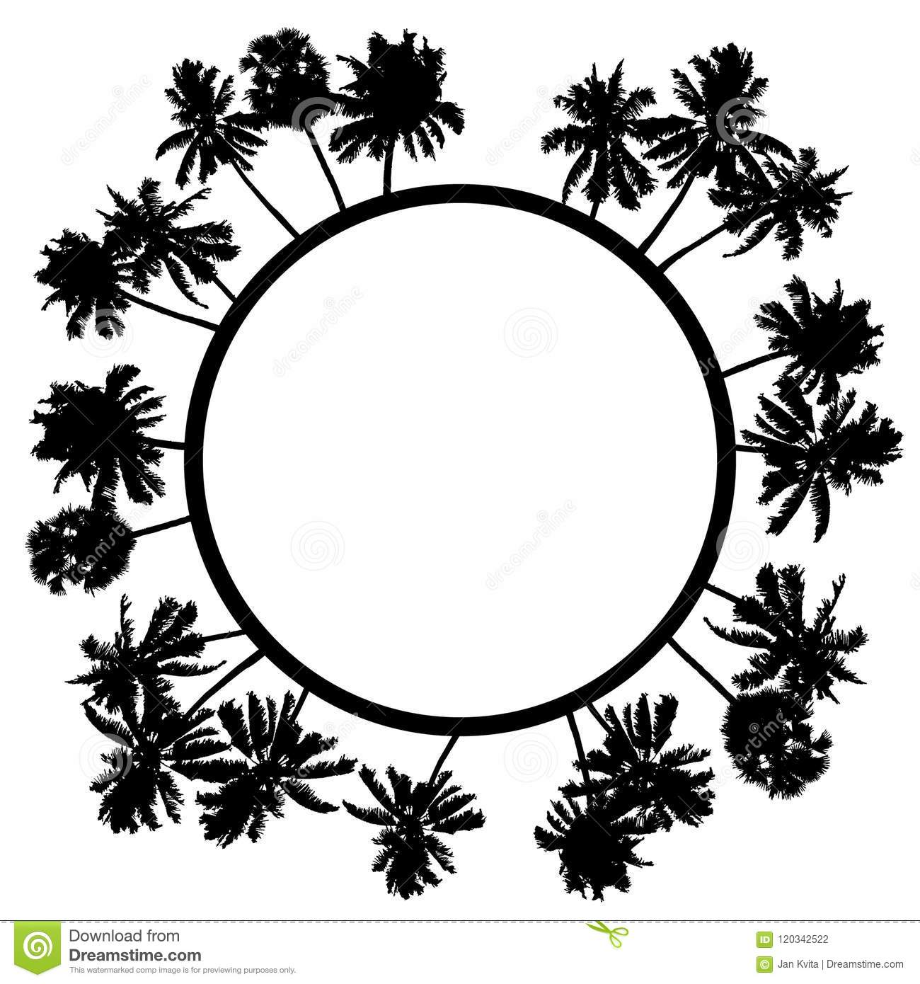 Vector Summer Poster Framed With Black Palm Trees On White Backg ...