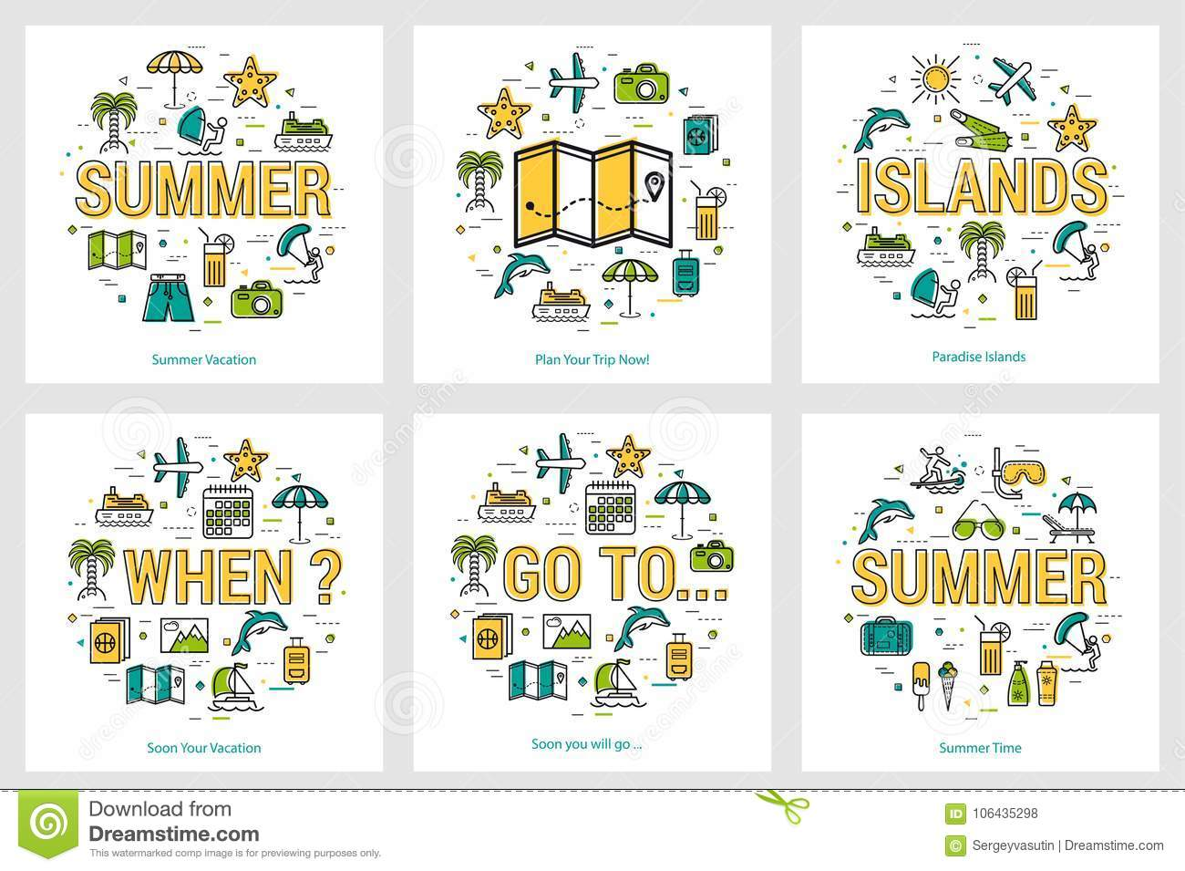 summer round banners trip and vacation concepts stock vector