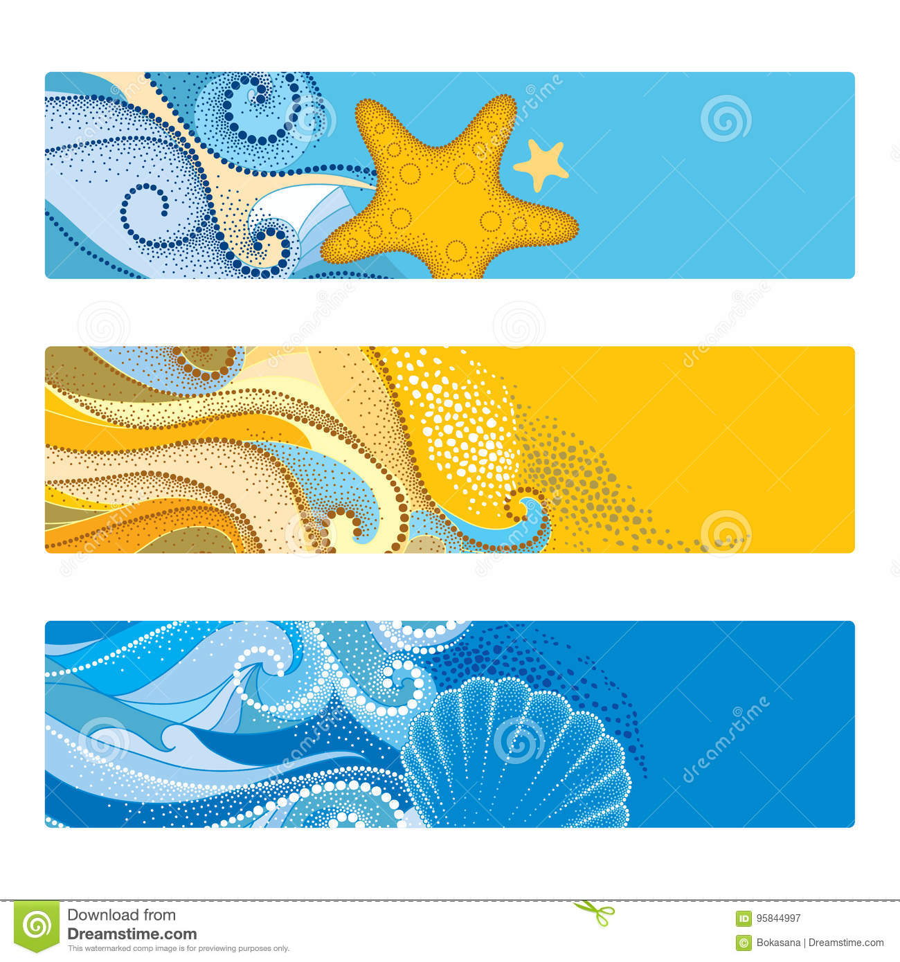 Vector summer set with horizontal banner in dotwork style. Abstract dotted waves, seashell, starfish, pebble, swirls isolated.