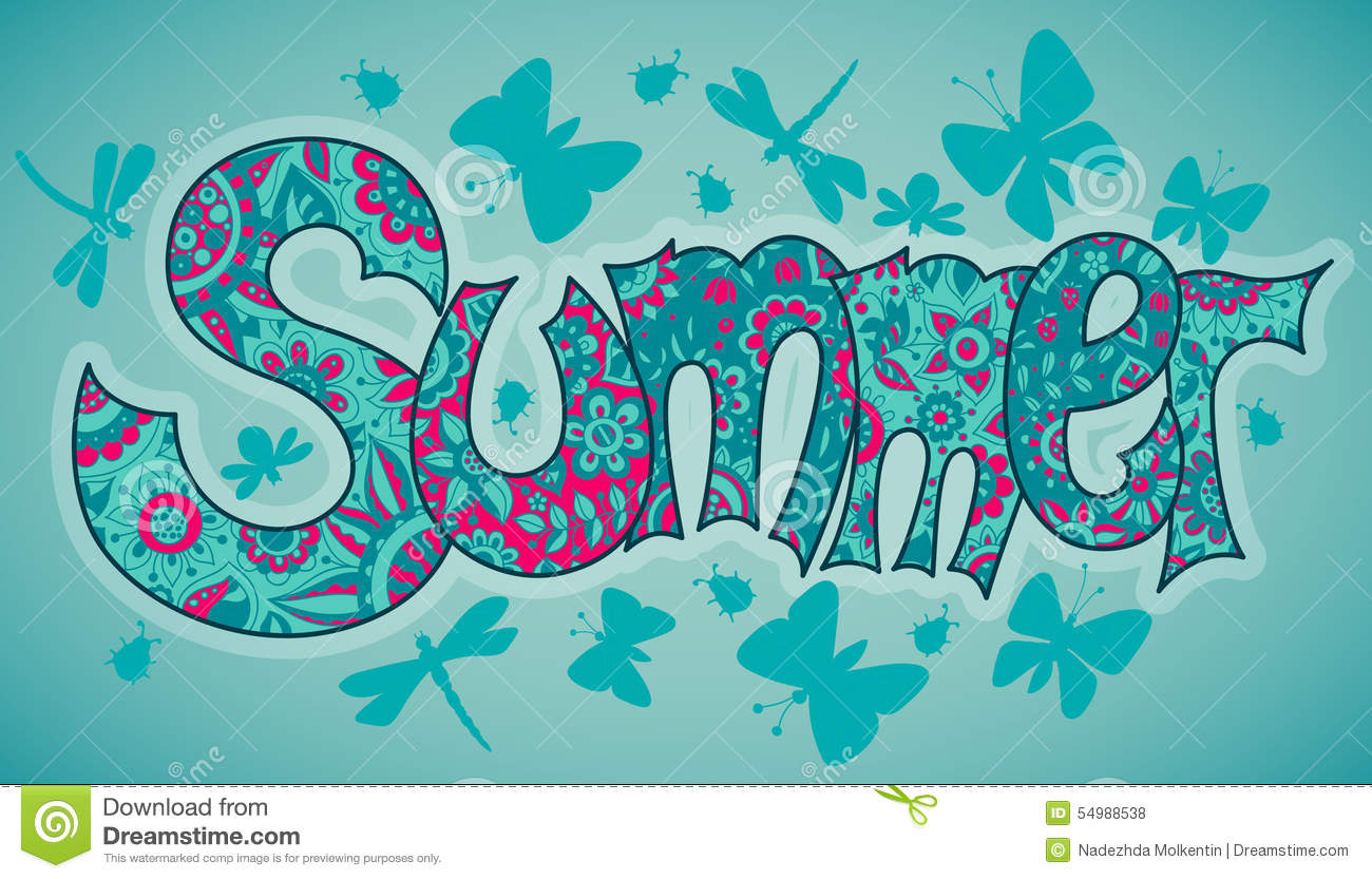 Vector summer text with flowers, dragonflies, beetles and butter