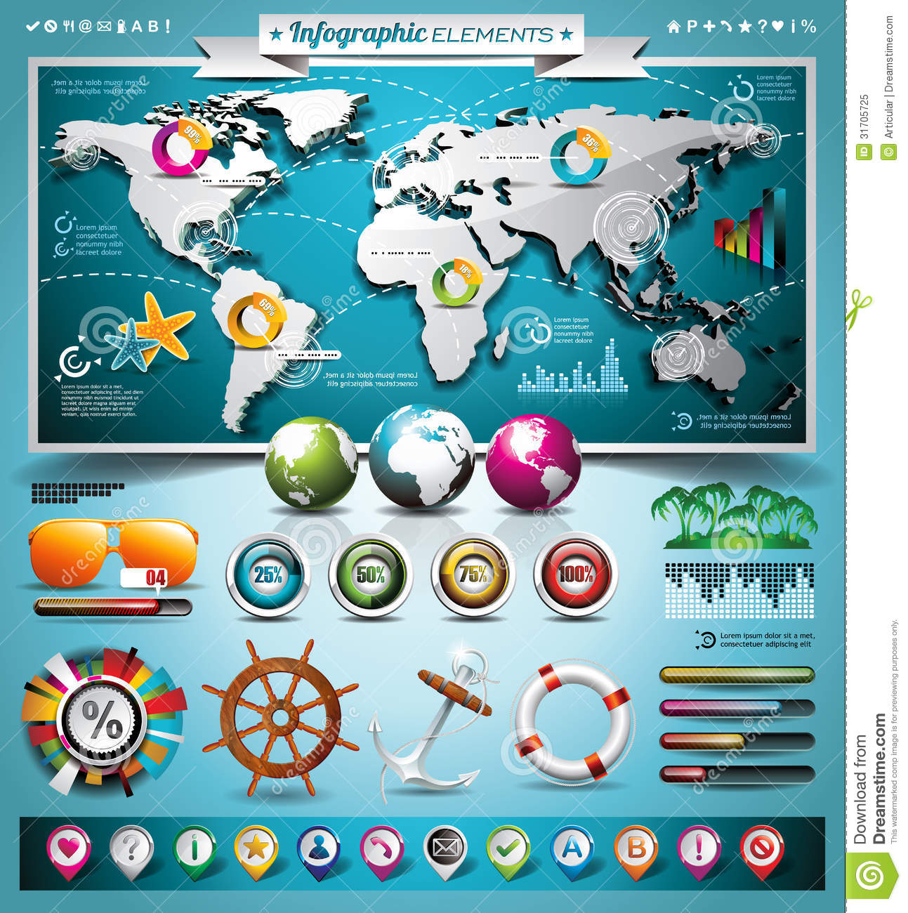 Vector summer travel infographic set with world map and vacation vector summer travel infographic set with world map and vacation elements gumiabroncs Choice Image
