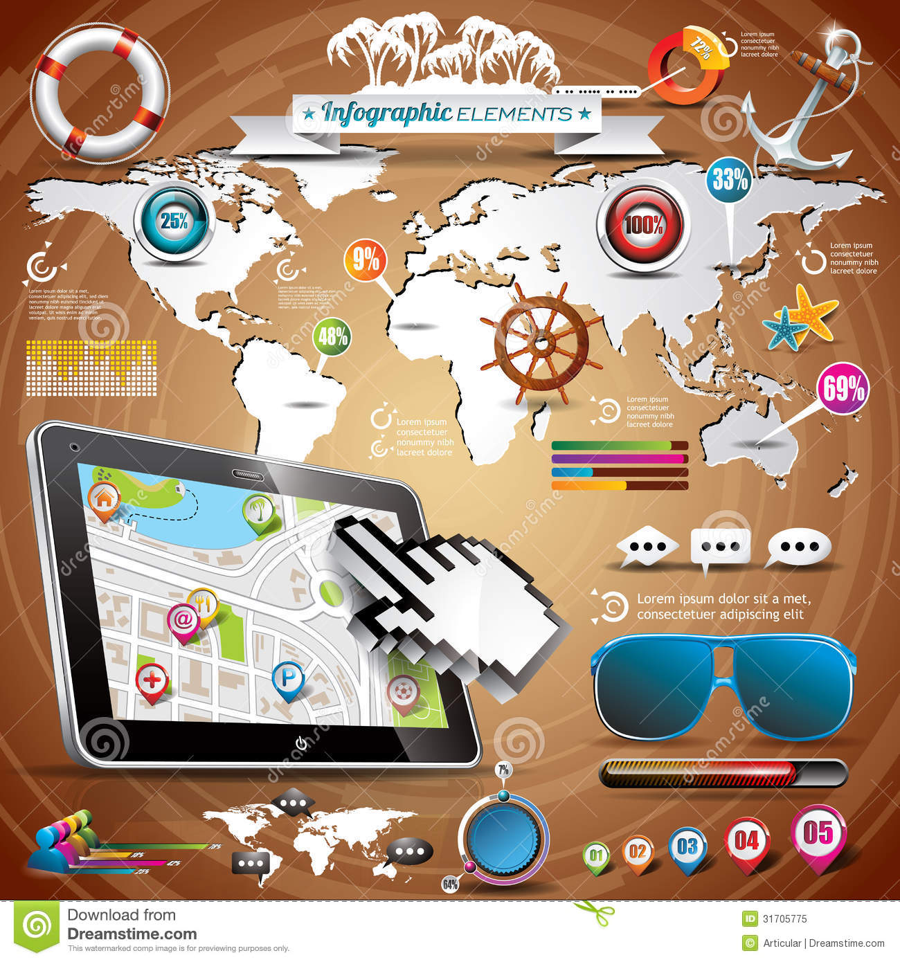 Vector summer travel infographic set with world map and vacation download comp gumiabroncs Choice Image