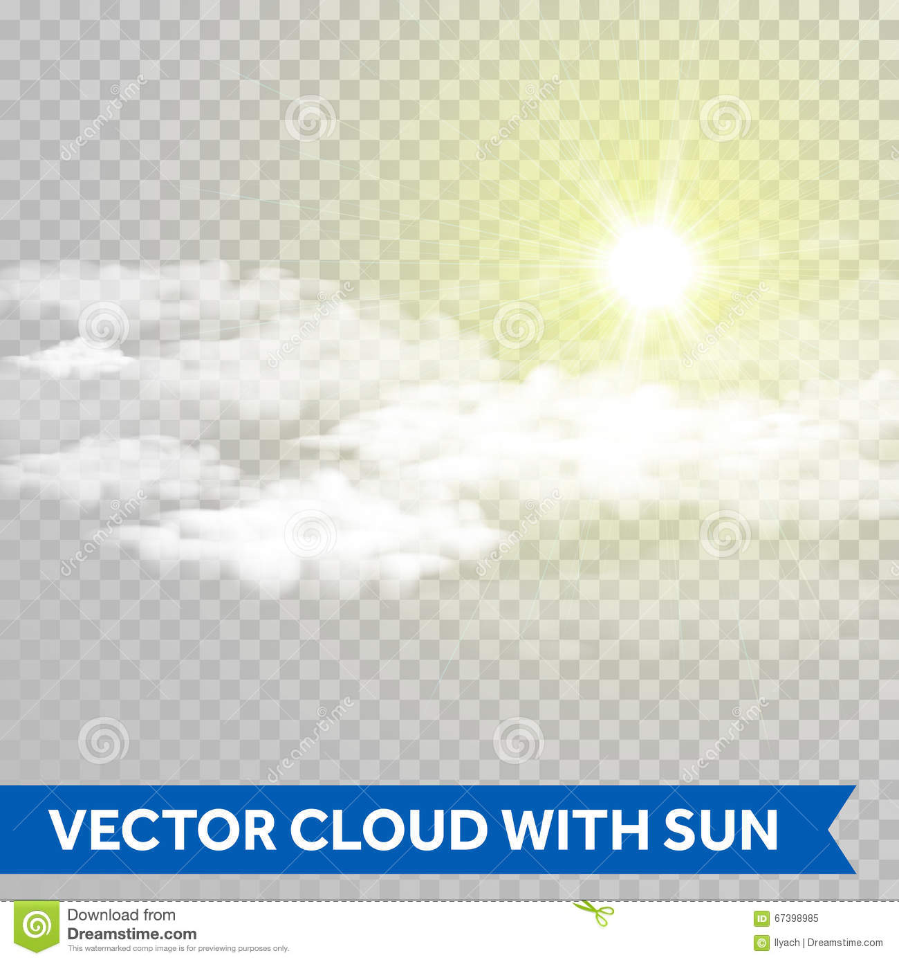 vector sun shine with cloud lens flare ray of light